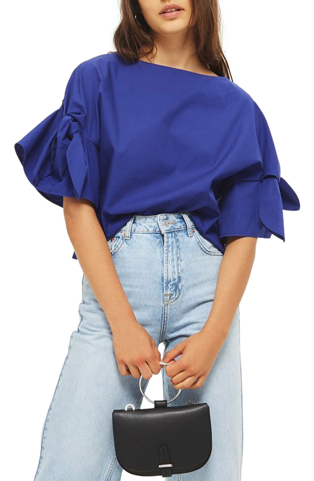 Topshop Bow Sleeve Blouse