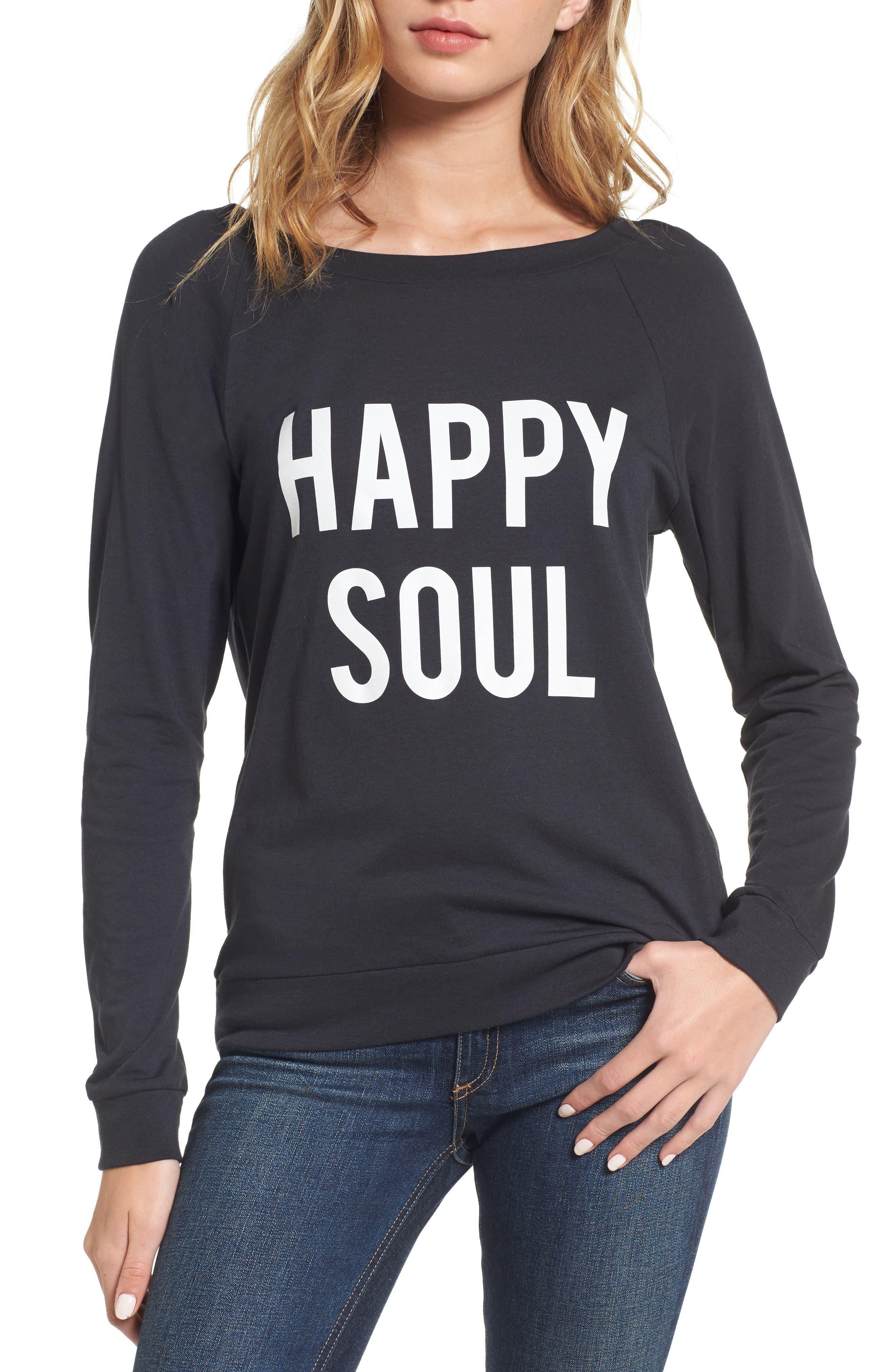 Happy Soul Long Sleeve Tee,                             Main thumbnail 1, color,                             Black