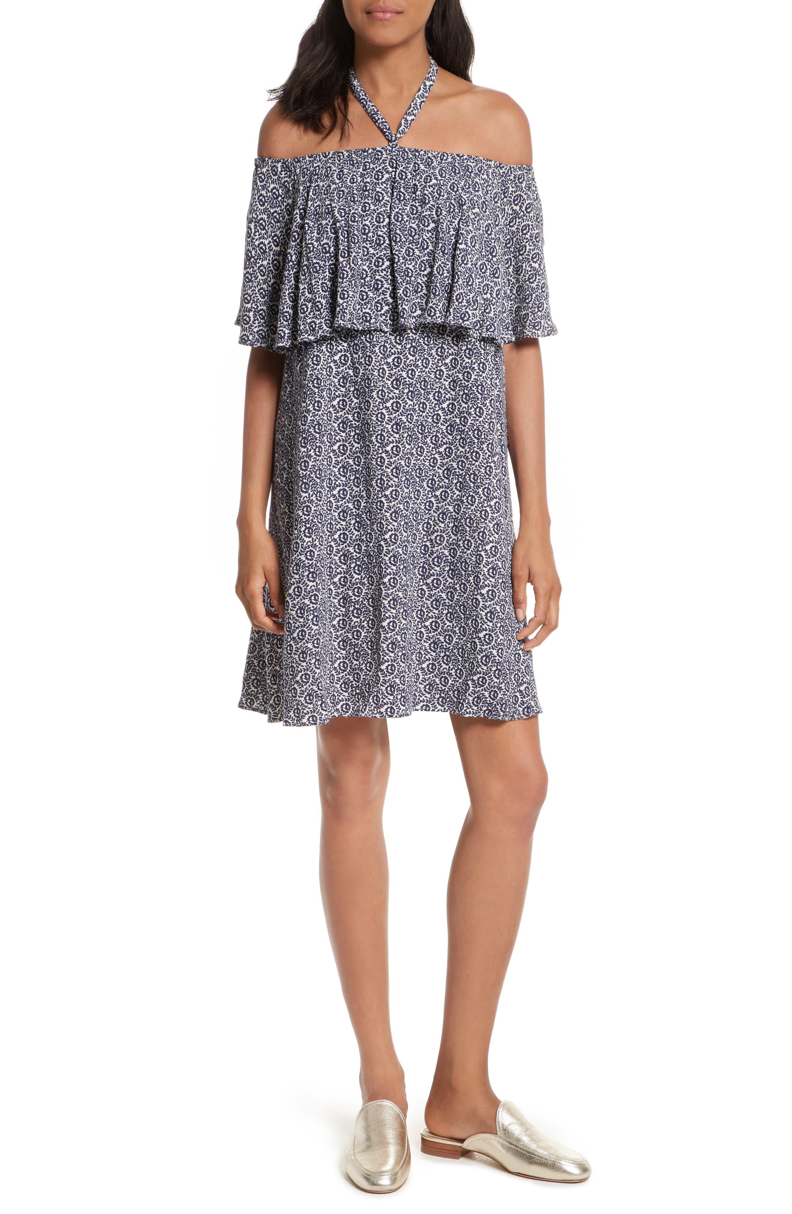 Havasu Off the Shoulder Dress,                         Main,                         color, Navy