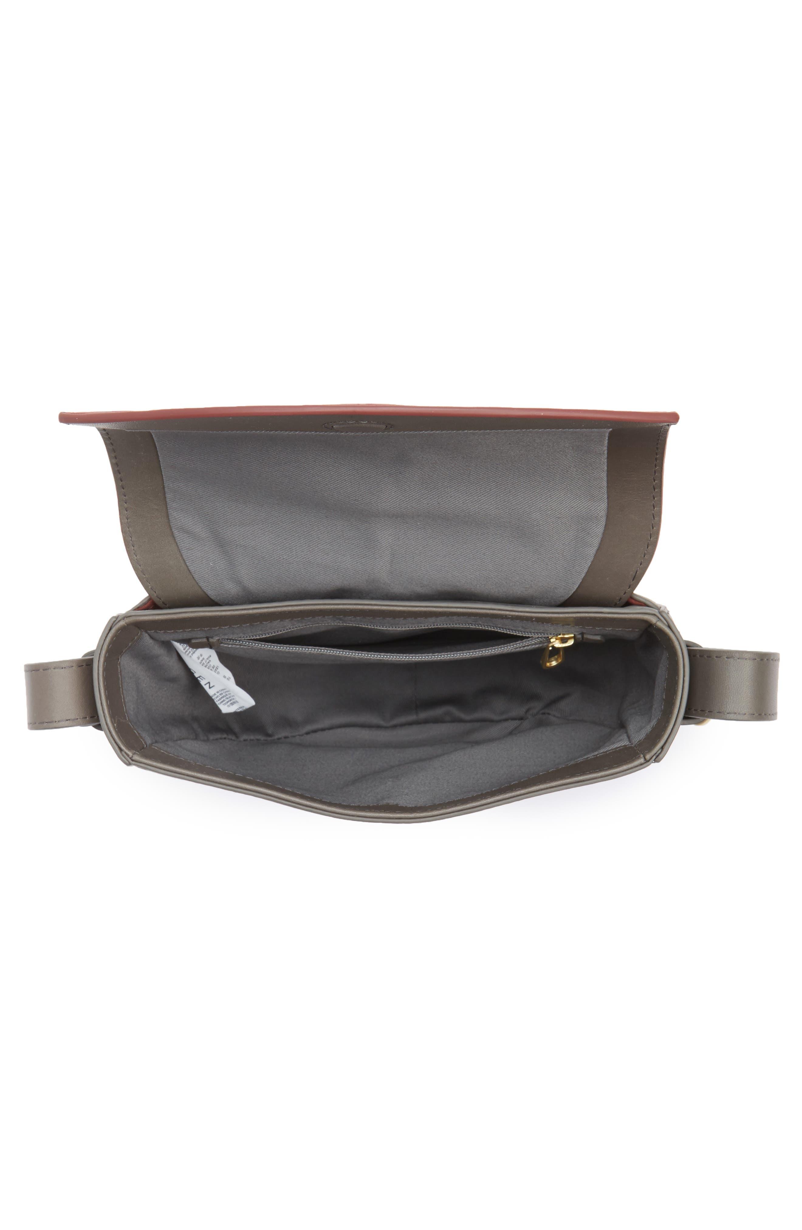 Lobelle Leather Saddle Bag,                             Alternate thumbnail 3, color,                             Pewter
