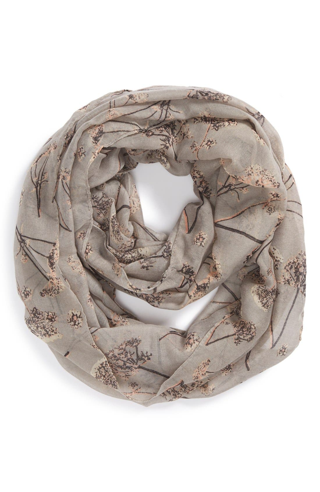 Dandelion Print Infinity Scarf,                             Main thumbnail 1, color,                             Grey