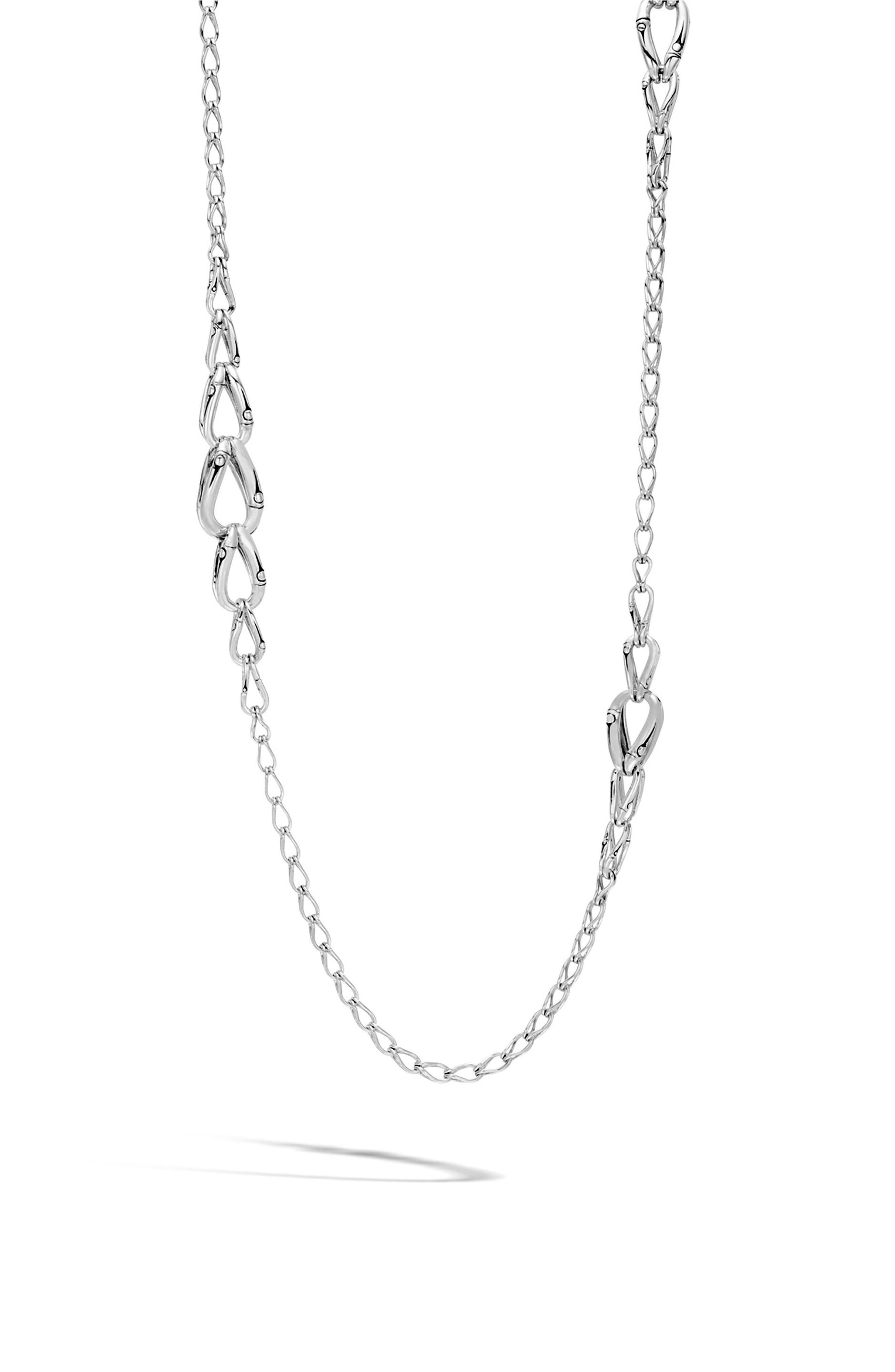 Bamboo Station Necklace,                             Main thumbnail 1, color,                             Silver