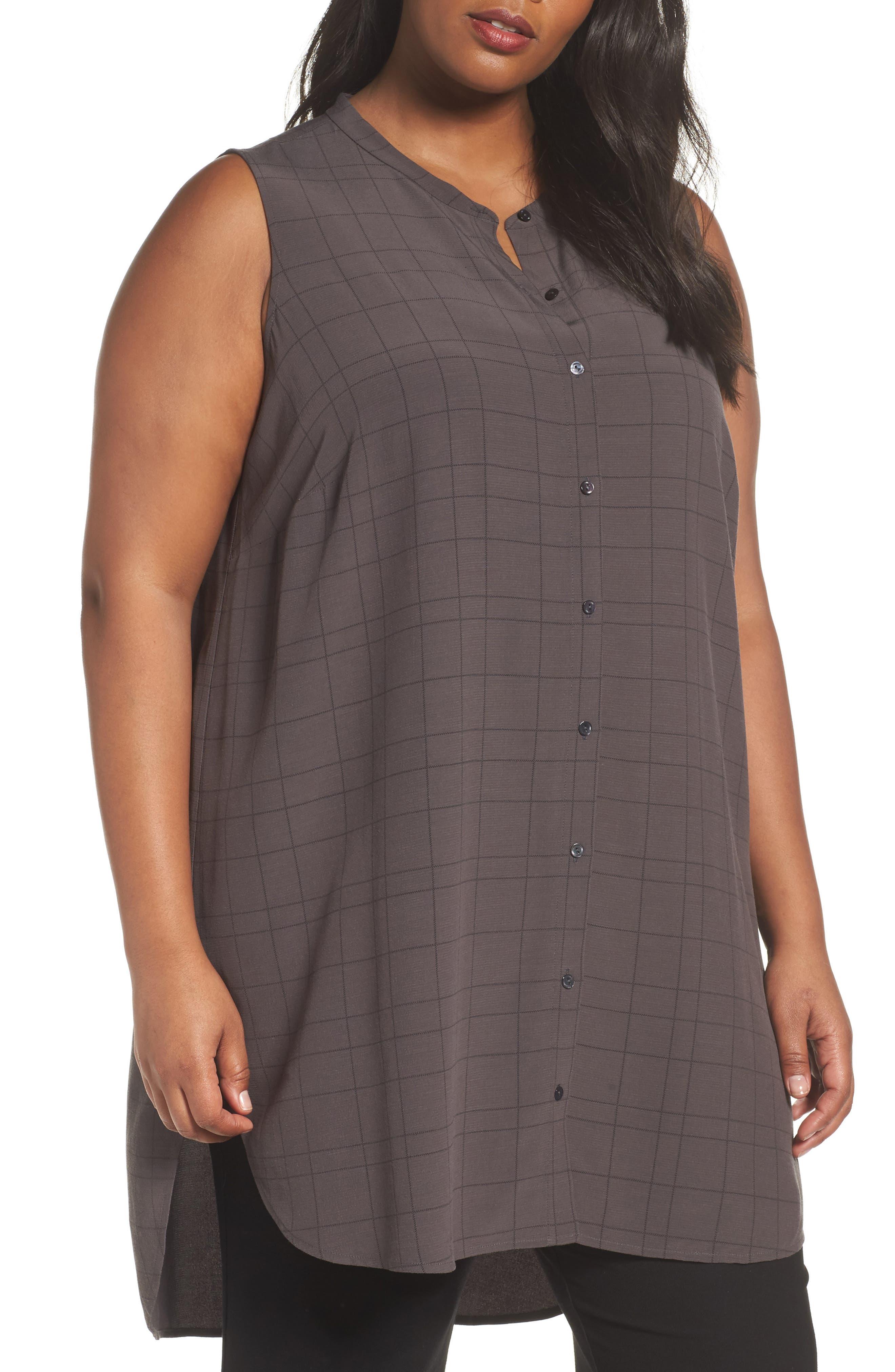Eileen Fisher Tencel® Blend Tunic Shirt (Plus Size)
