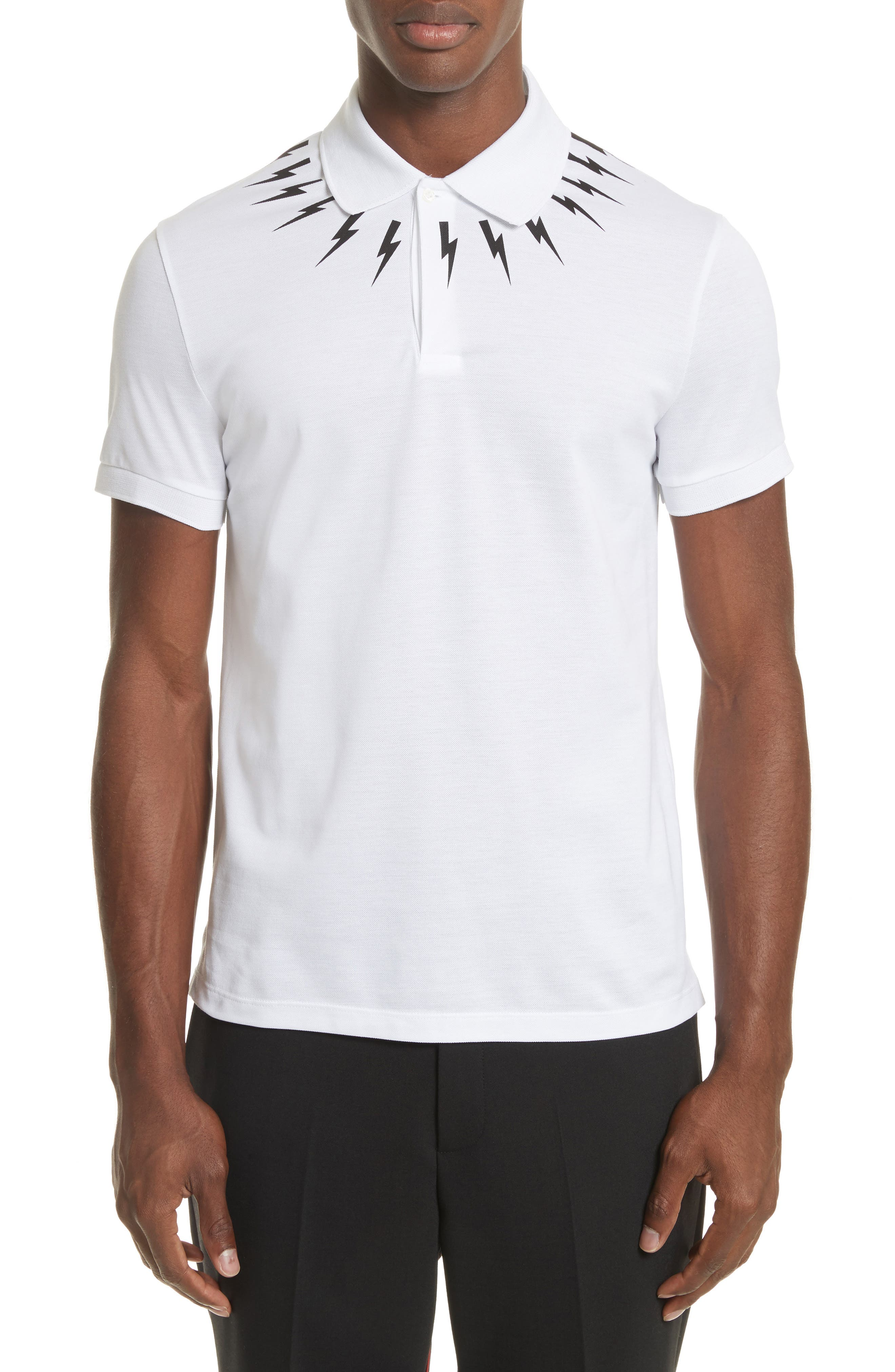 Thunderbolt Yoke Graphic Polo,                         Main,                         color, White/ Black
