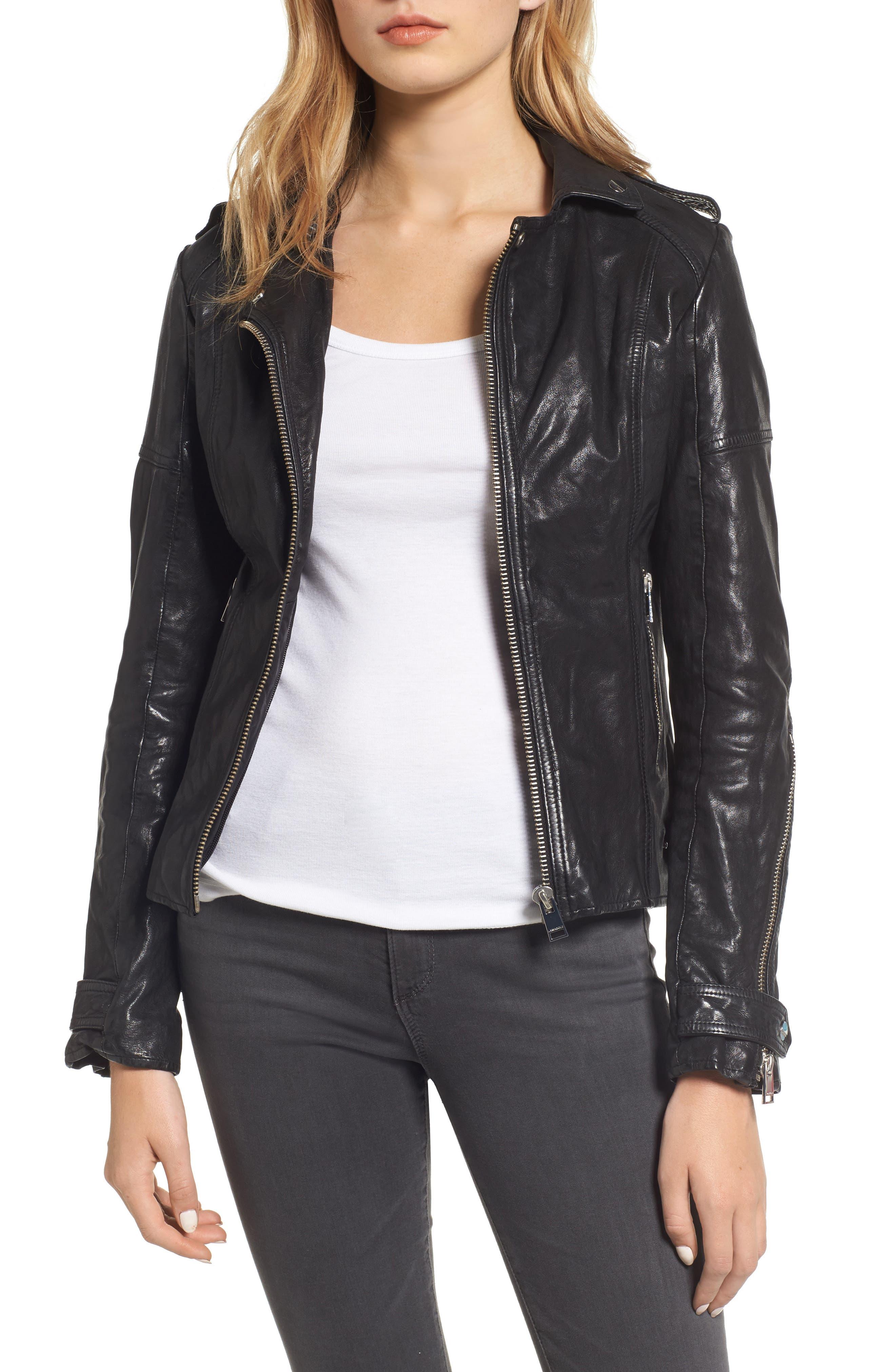 Hooded Leather Biker Jacket,                             Alternate thumbnail 4, color,                             Black