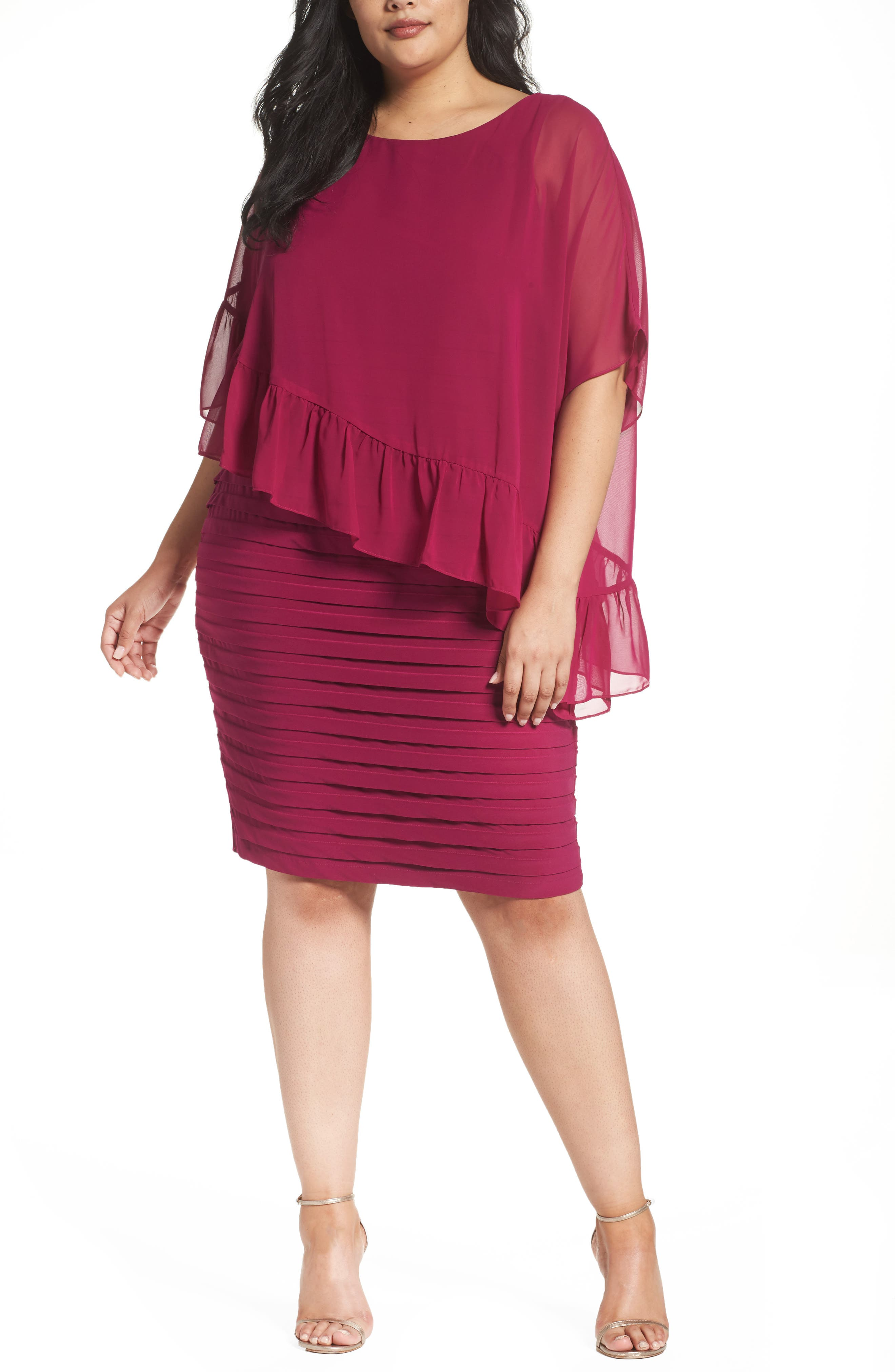 Adrianna Papell Pleated Sheath Dress with Chiffon Capelet (Plus Size)