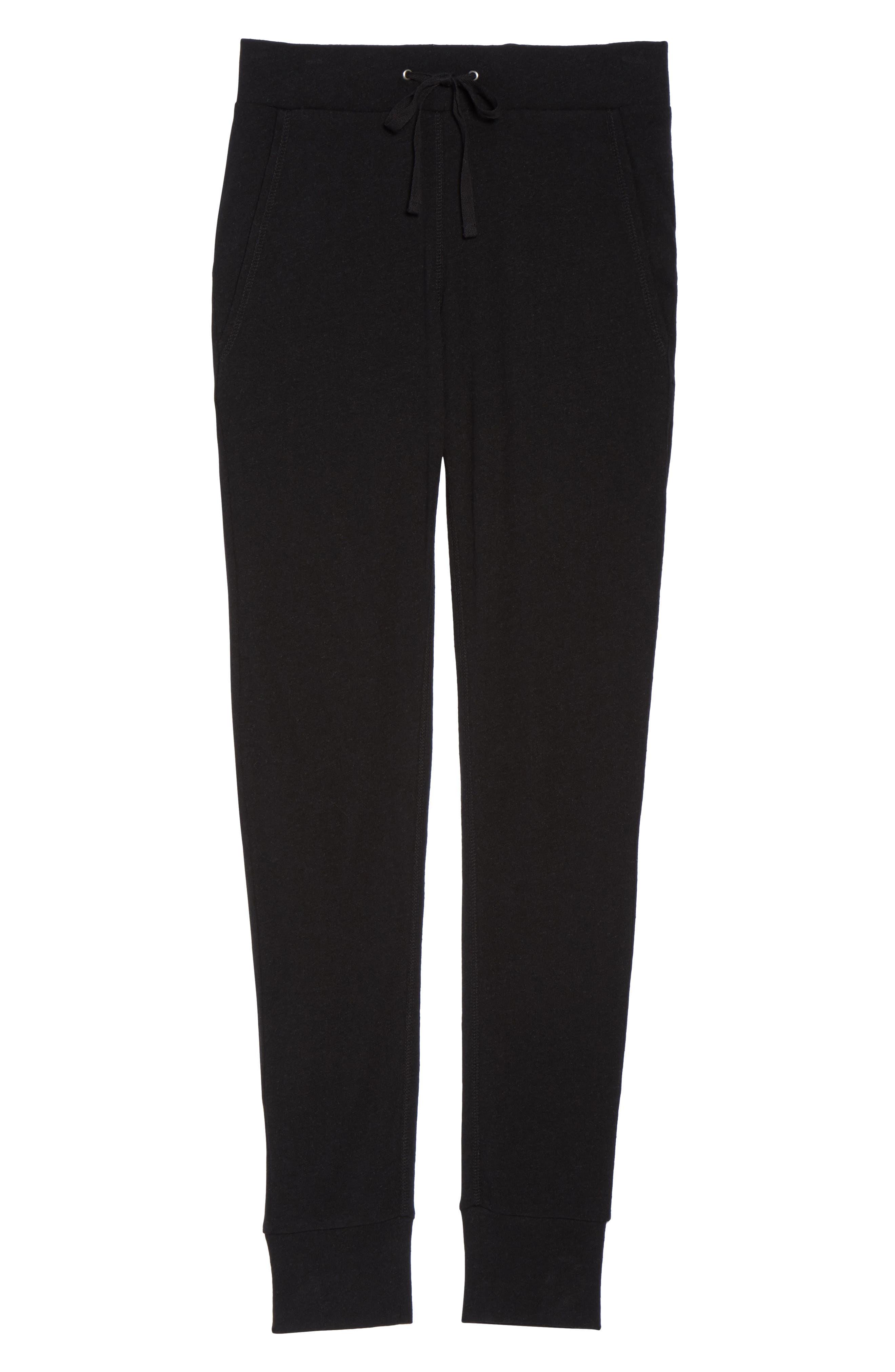 Clementine Cotton & Silk Pajama Pants,                             Alternate thumbnail 5, color,                             Black