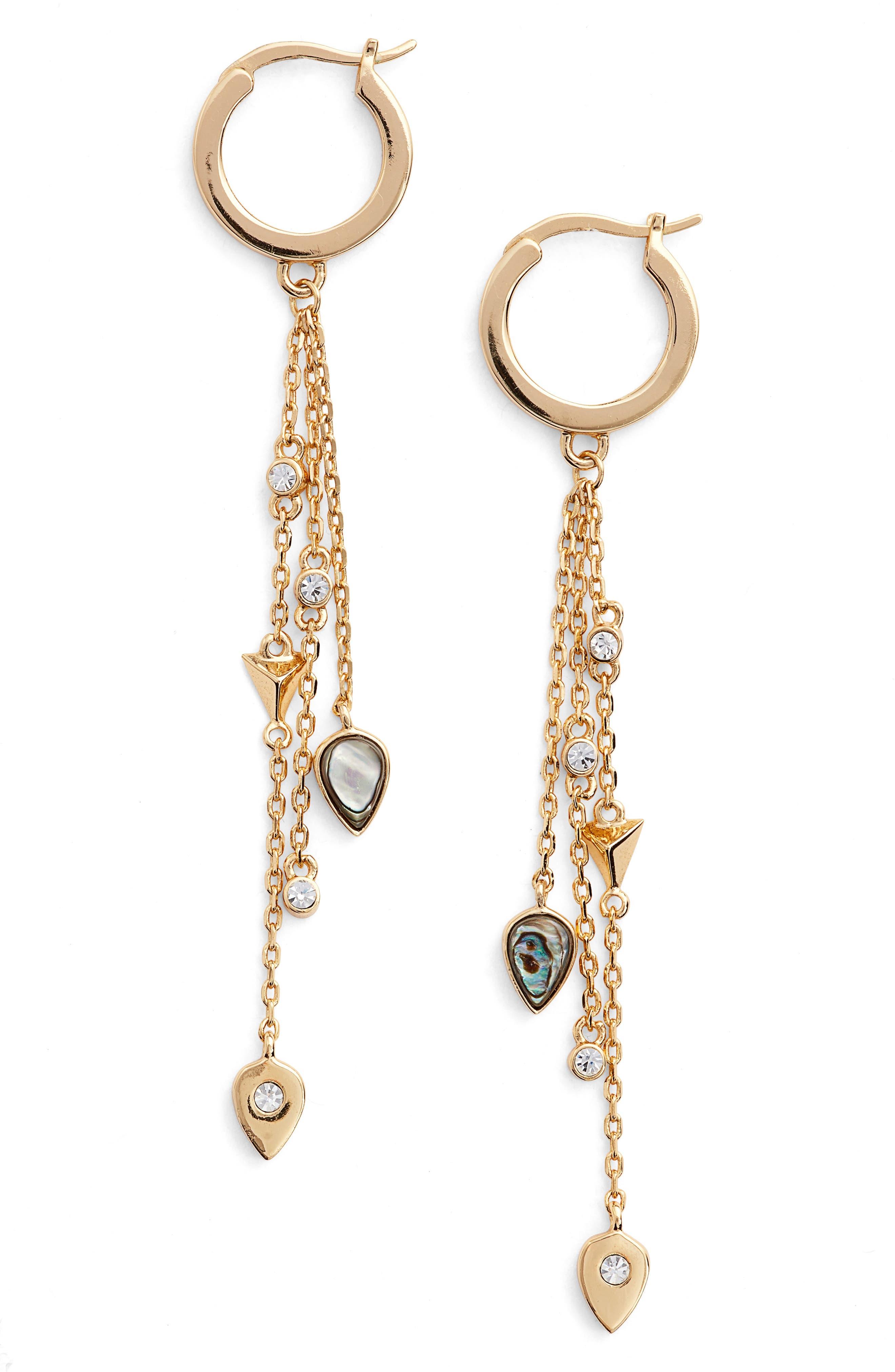 Owen Drop Earrings,                             Main thumbnail 1, color,                             Gold/ Abalone