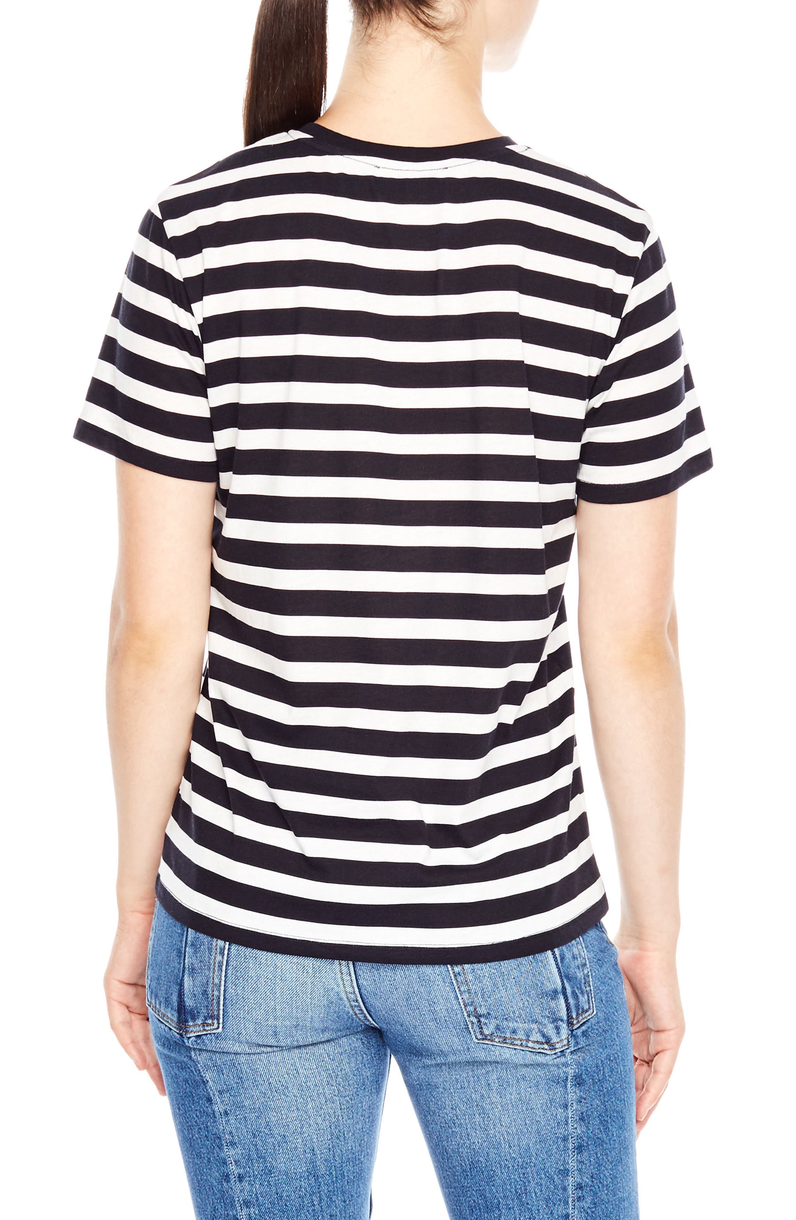 Tattoo Embroidered Stripe Tee,                             Alternate thumbnail 2, color,                             Navy