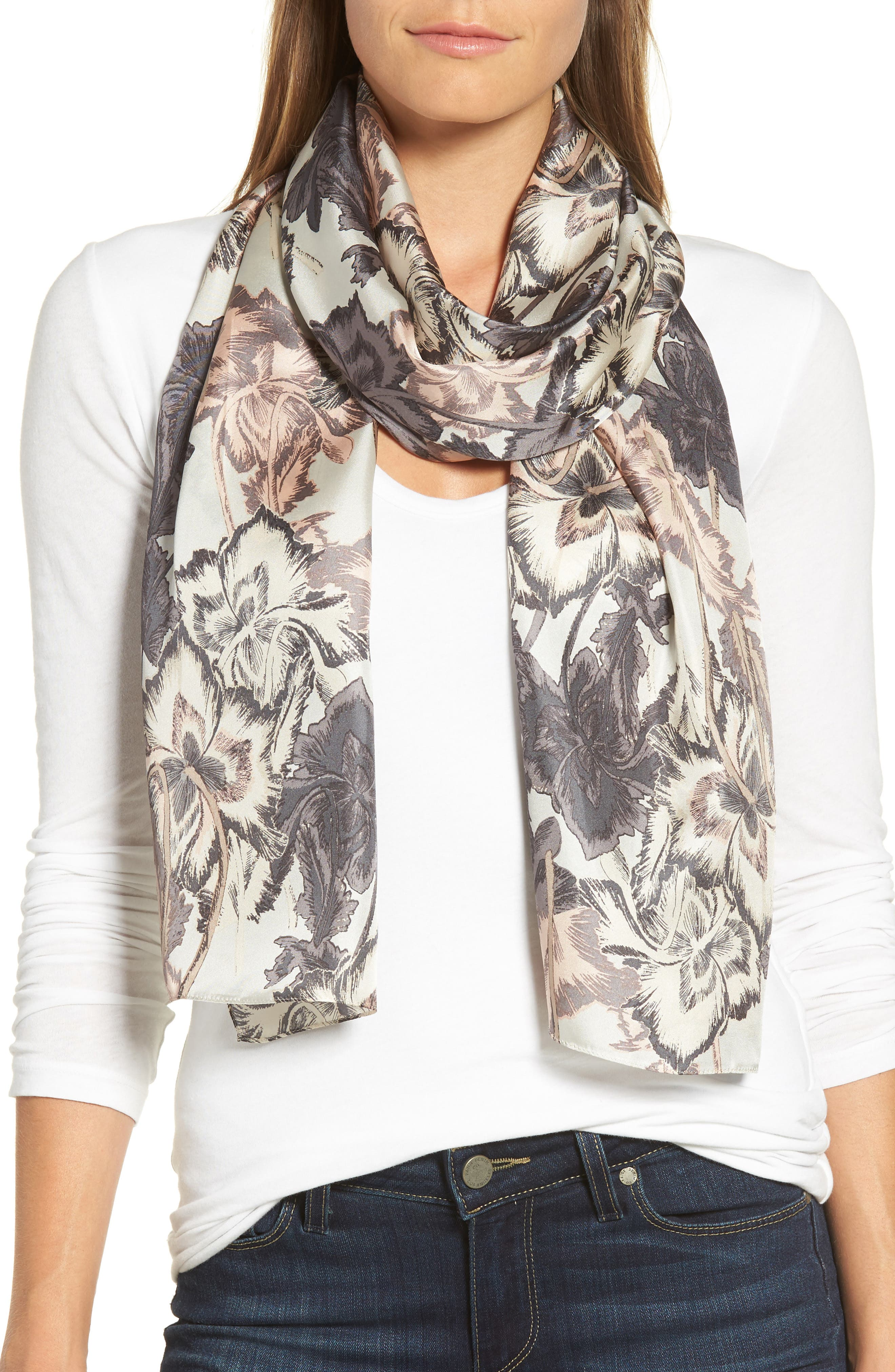 Stems For Days Silk Scarf,                         Main,                         color, Silver