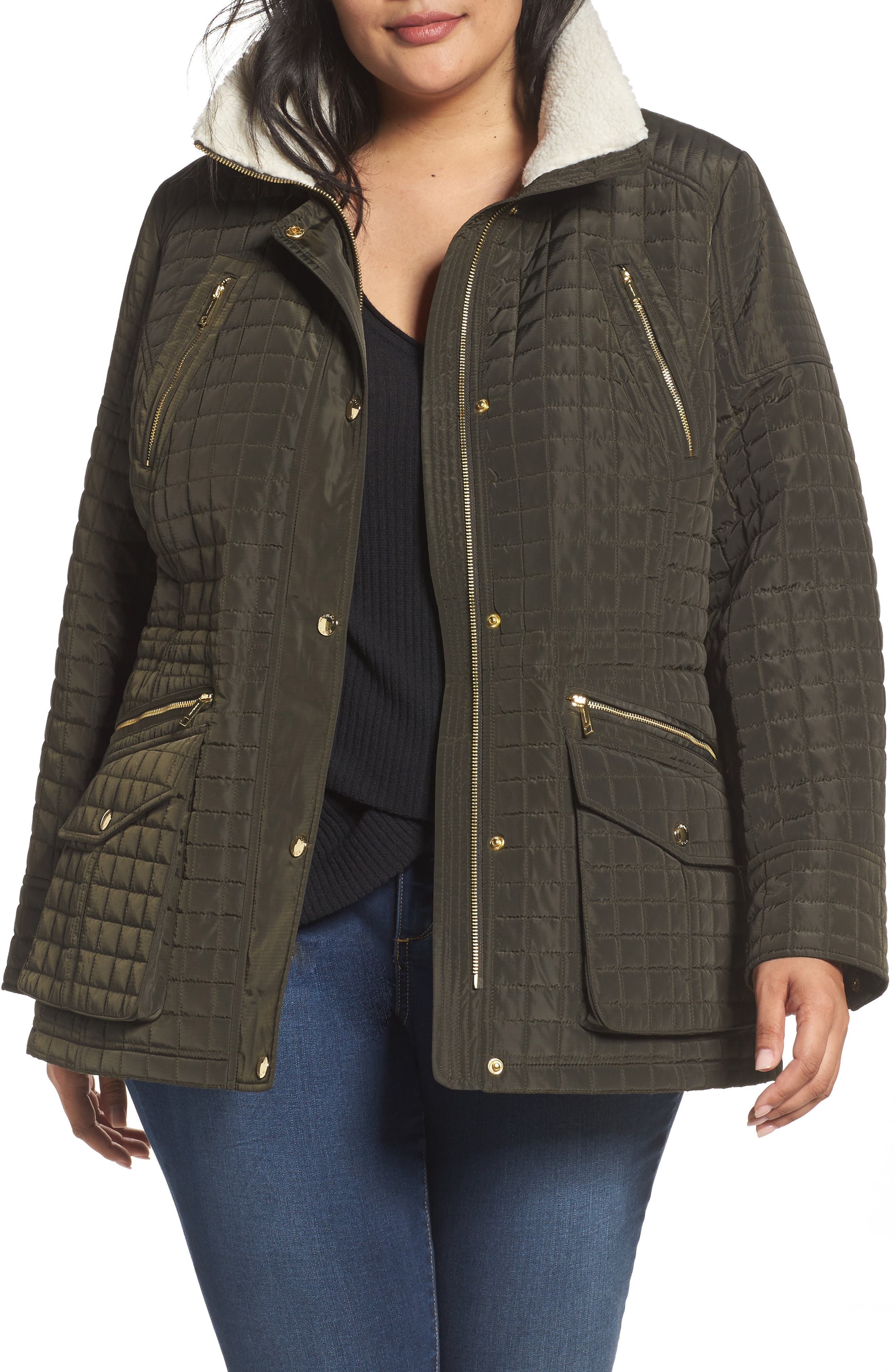 Quilted Jacket with Faux Shearling Trim,                         Main,                         color, Dark Moss