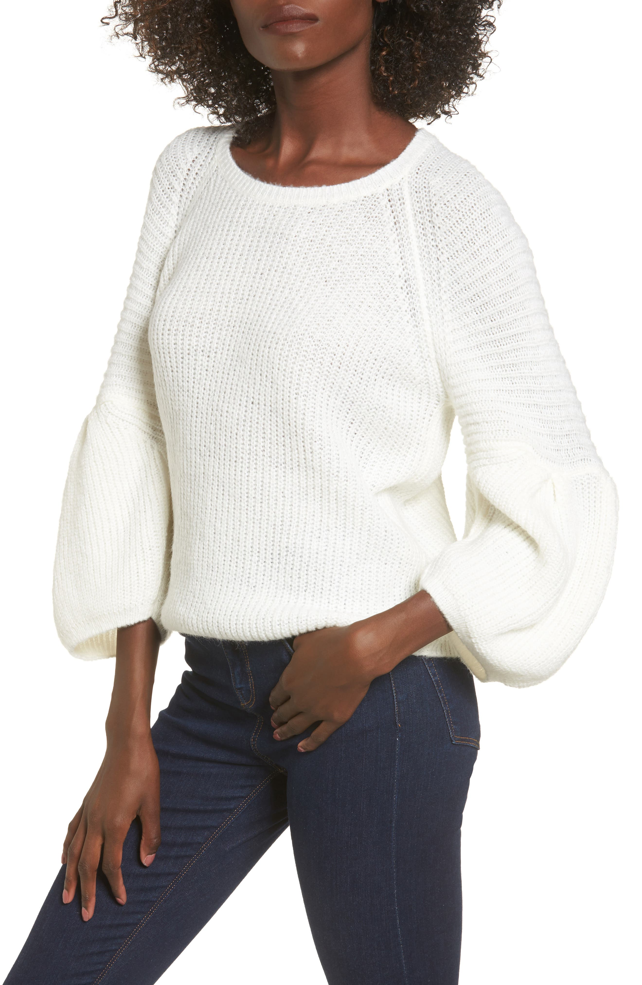 Bubble Sleeve Sweater,                             Main thumbnail 1, color,                             Ivory