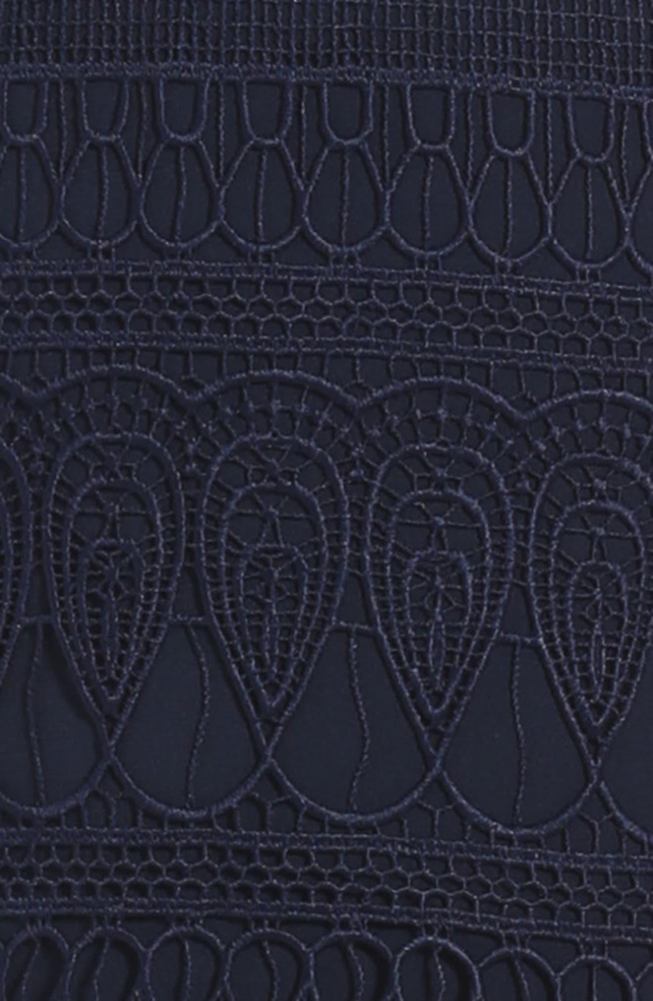 Junior Linear Lace Dress,                             Alternate thumbnail 3, color,                             Navy