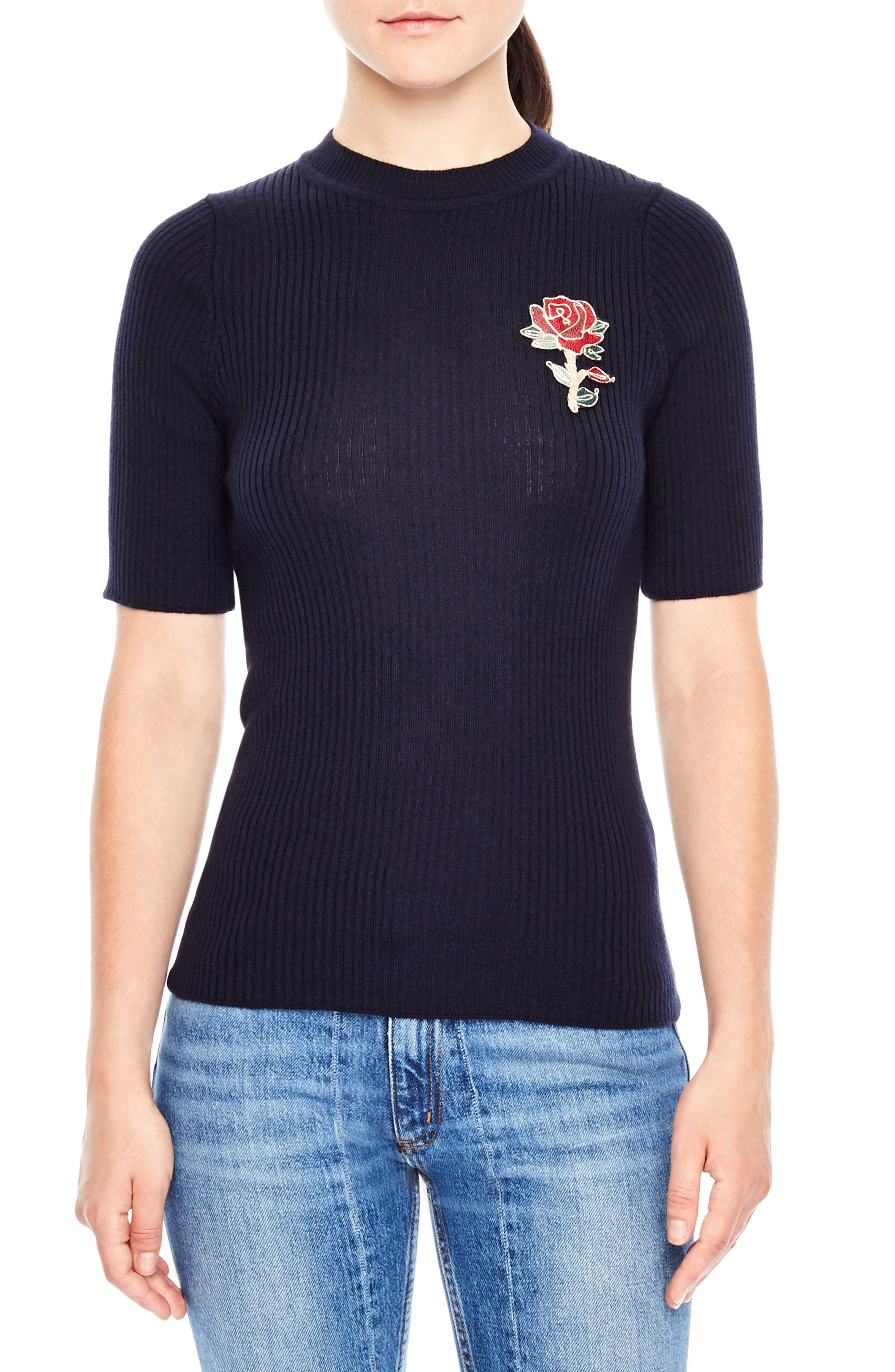 Floral Appliqué Ribbed Sweater,                             Main thumbnail 1, color,                             Navy
