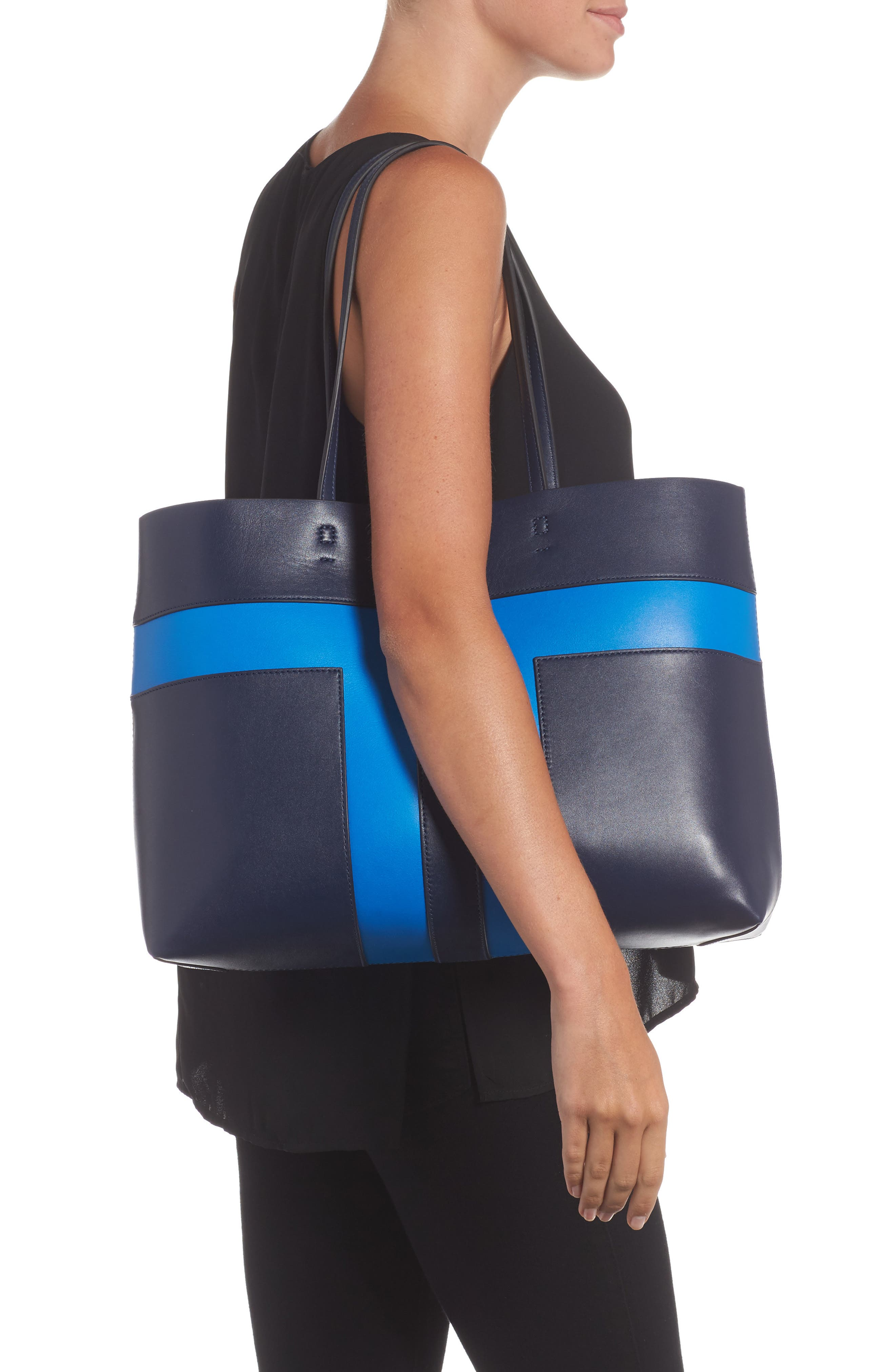 Block T Leather Tote,                             Alternate thumbnail 2, color,                             Royal Navy/ Galleria Blue