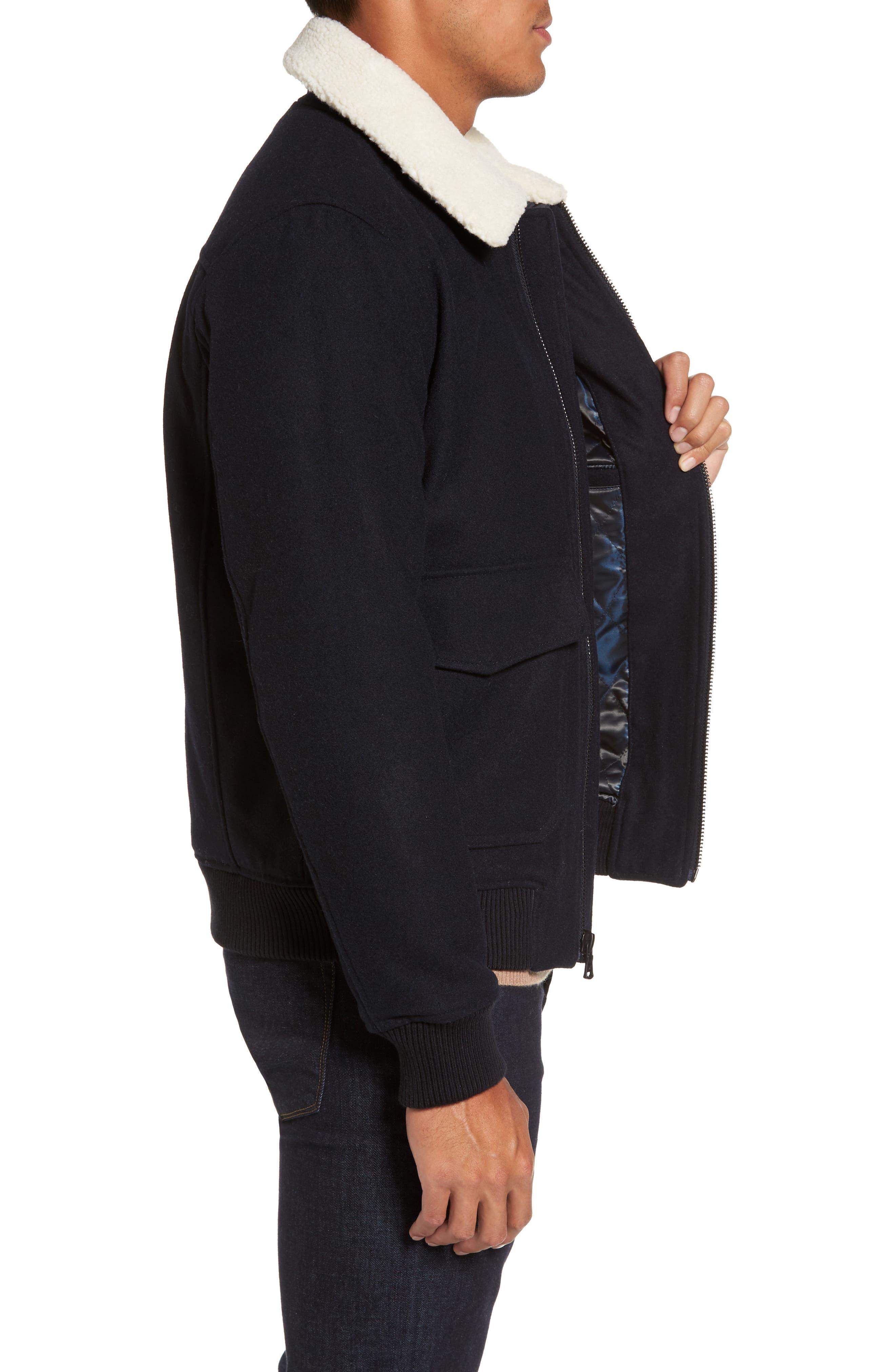 Fleece Collar Wool Blend A-2 Jacket,                             Alternate thumbnail 3, color,                             Officer Navy