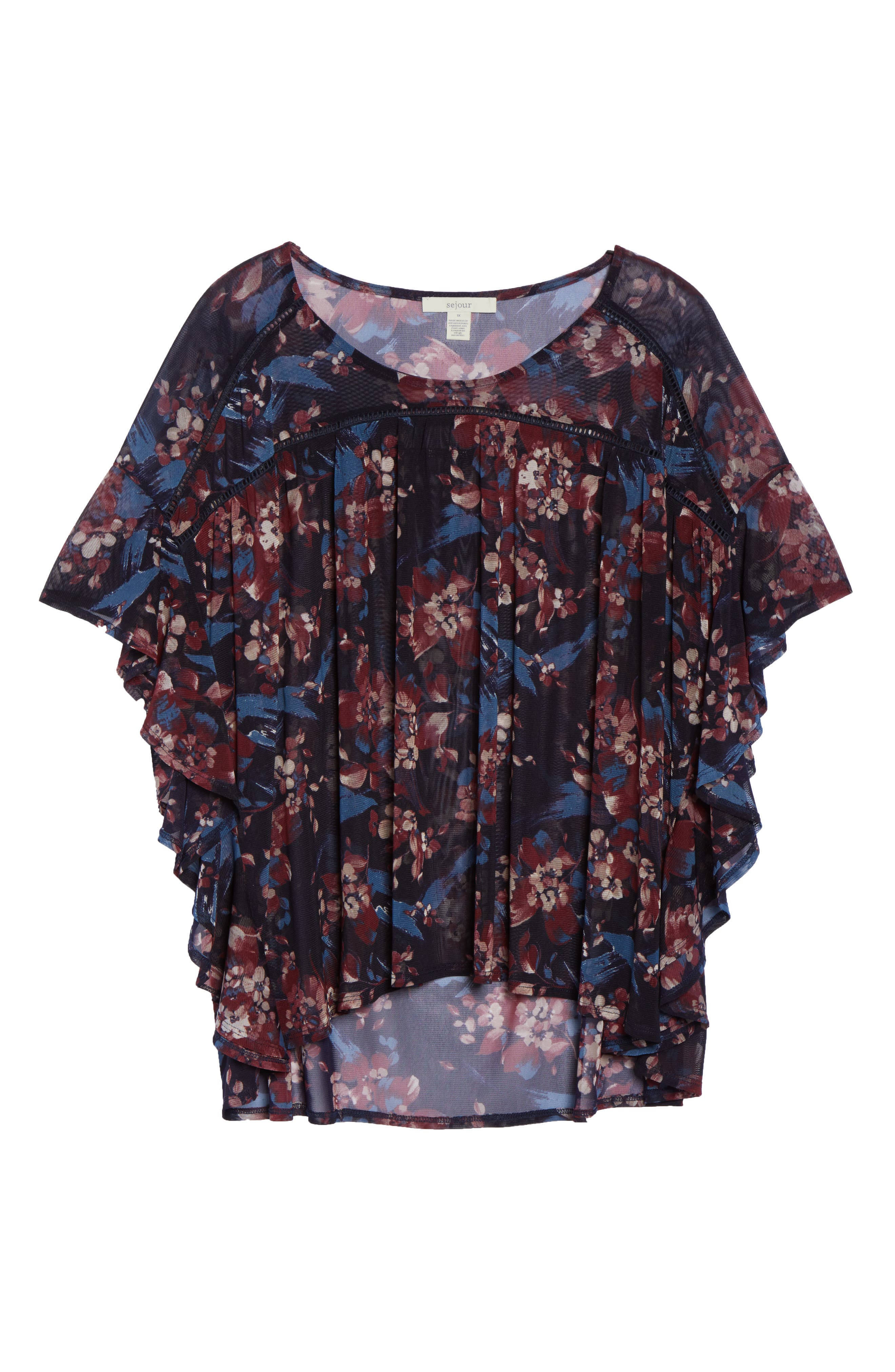 Ruffle Mesh Top,                             Alternate thumbnail 6, color,                             Painterly Floral Print