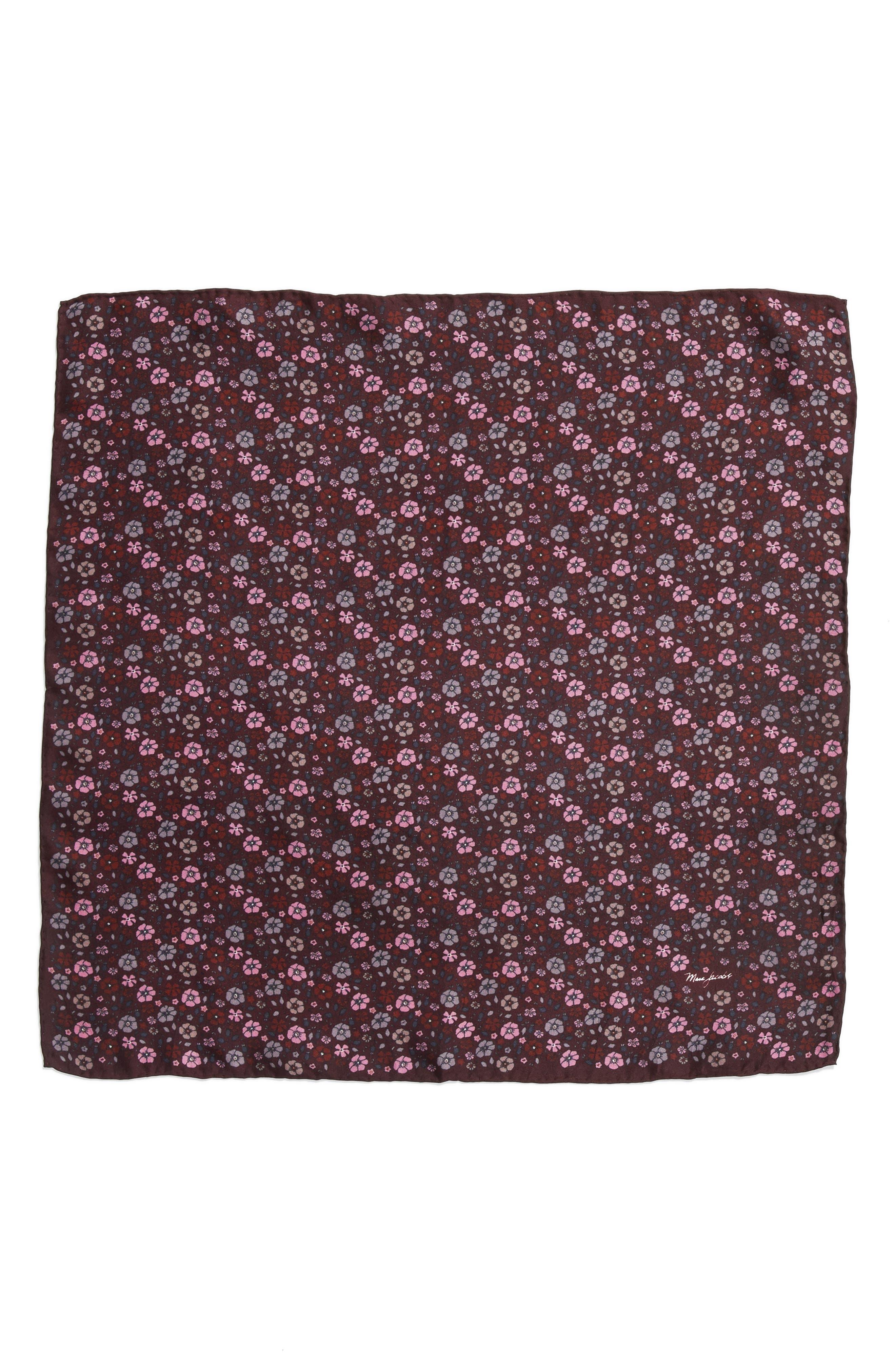 Floral Silk Bandana,                         Main,                         color, Maroon Multi