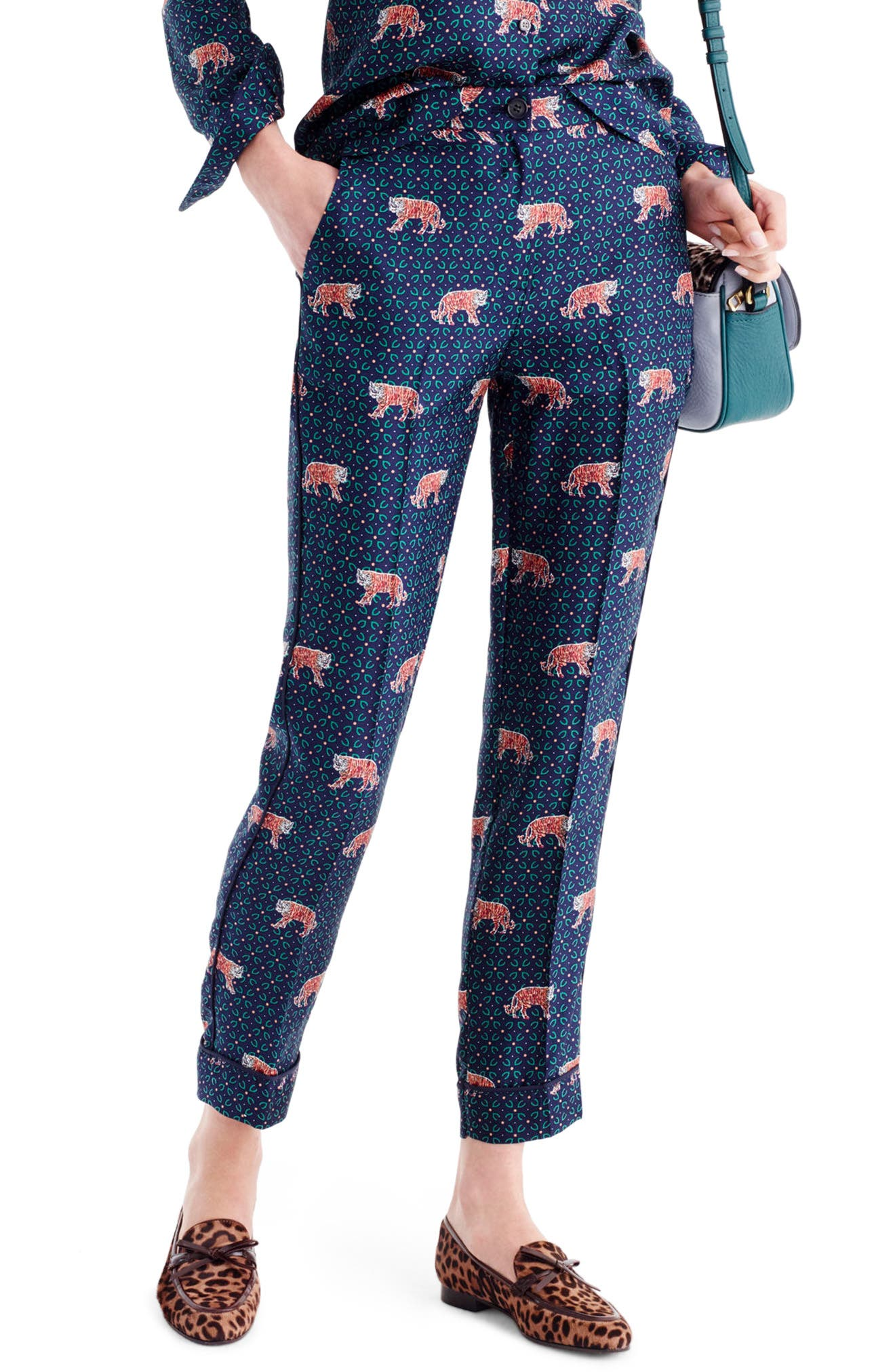 J.Crew Tiger Print Silk Easy Pants