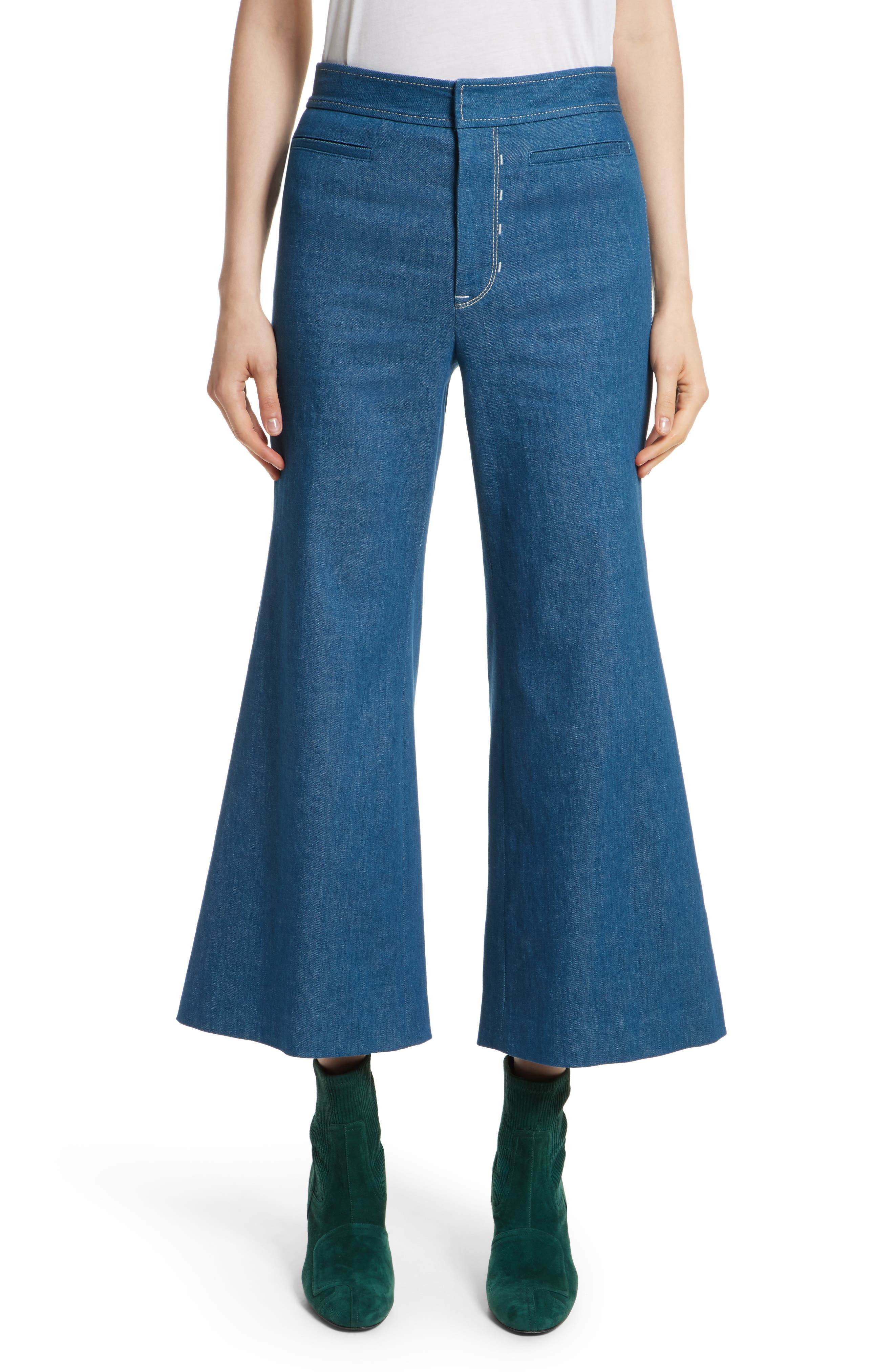 Crop Flare Jeans,                         Main,                         color, Sea Green