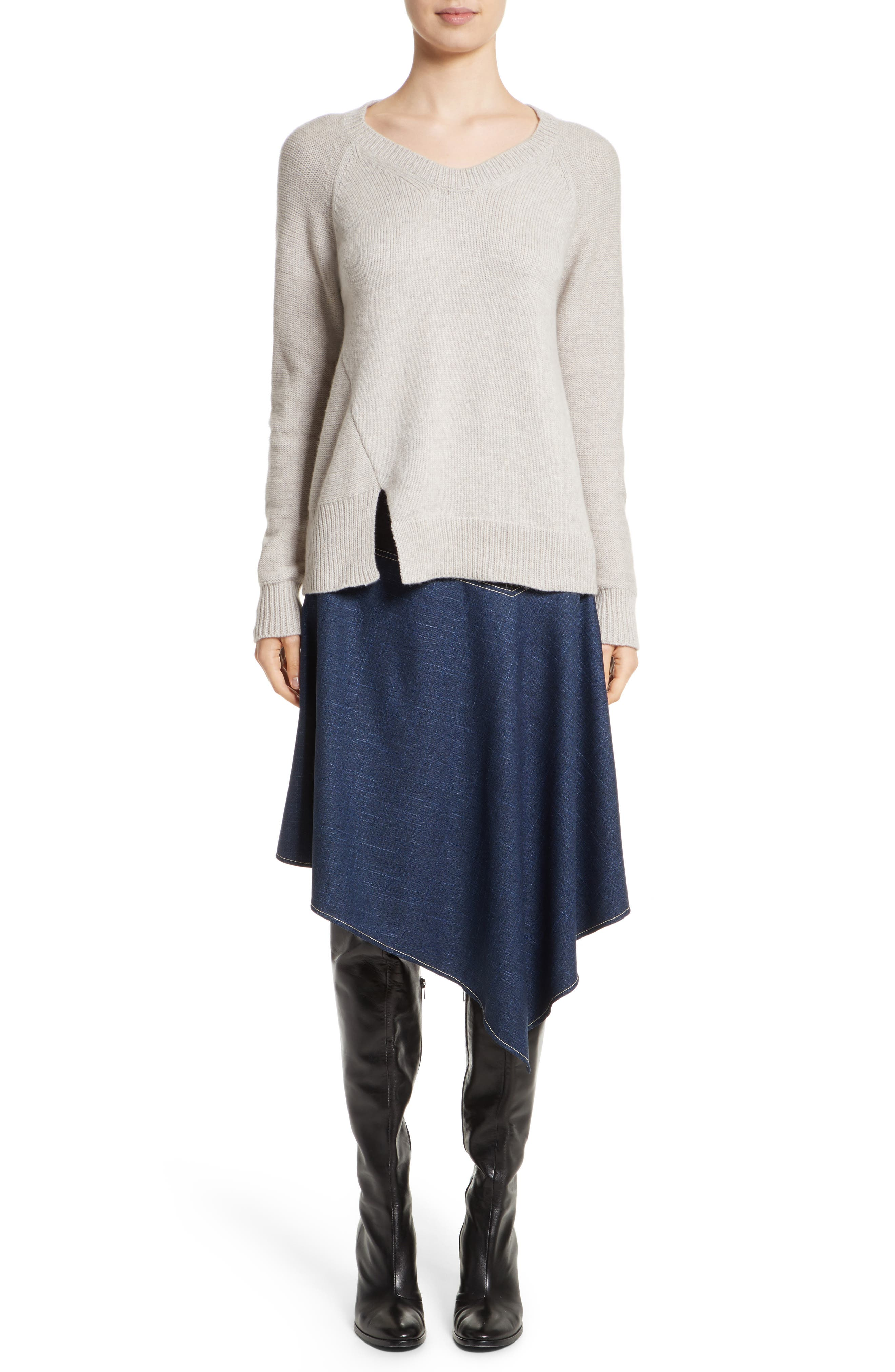 Asymmetrical Wide Neck Sweater,                             Alternate thumbnail 7, color,                             Sand