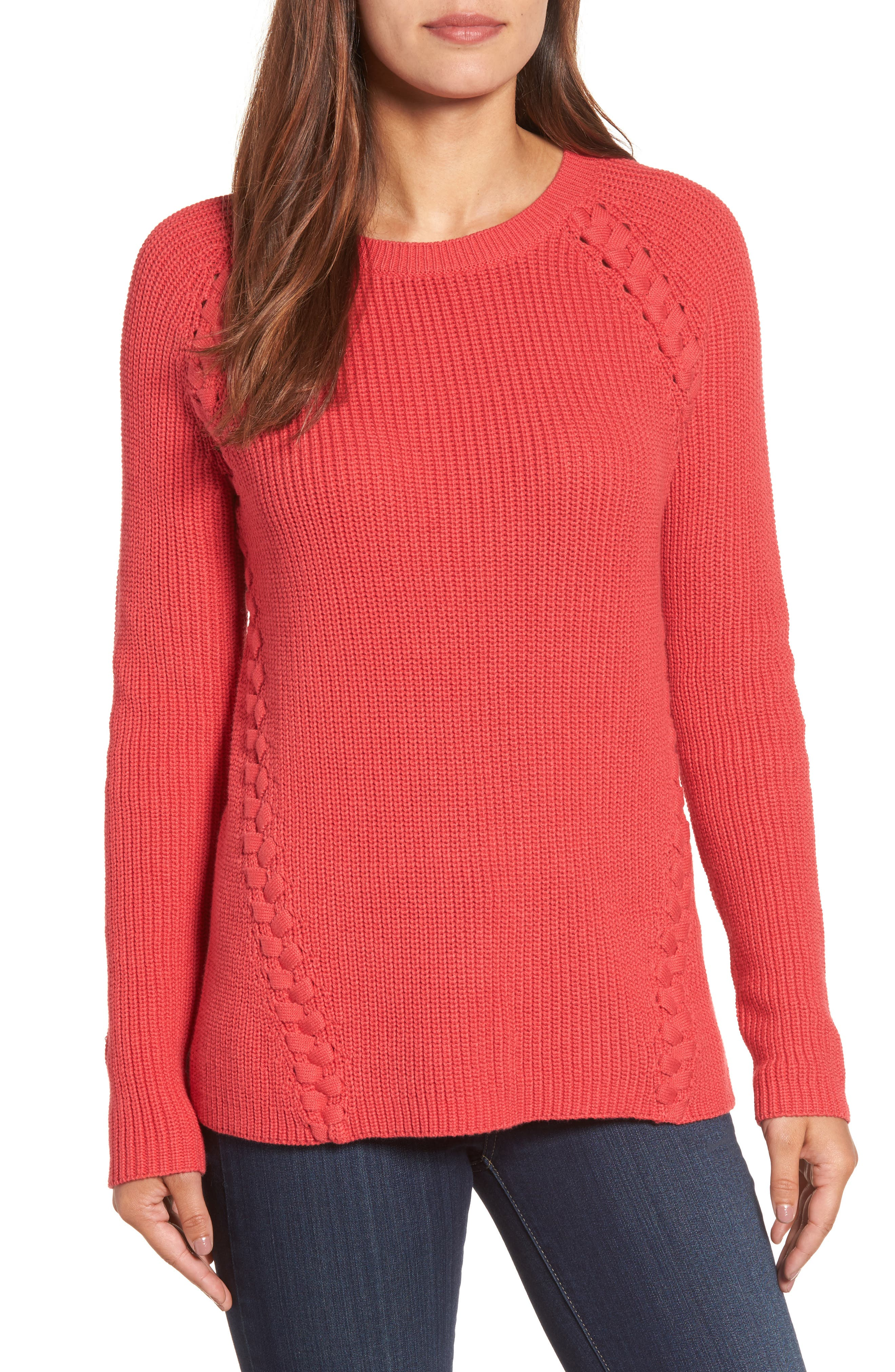 Alternate Image 1 Selected - Halogen® Lace-Up Sweater (Regular & Petite)