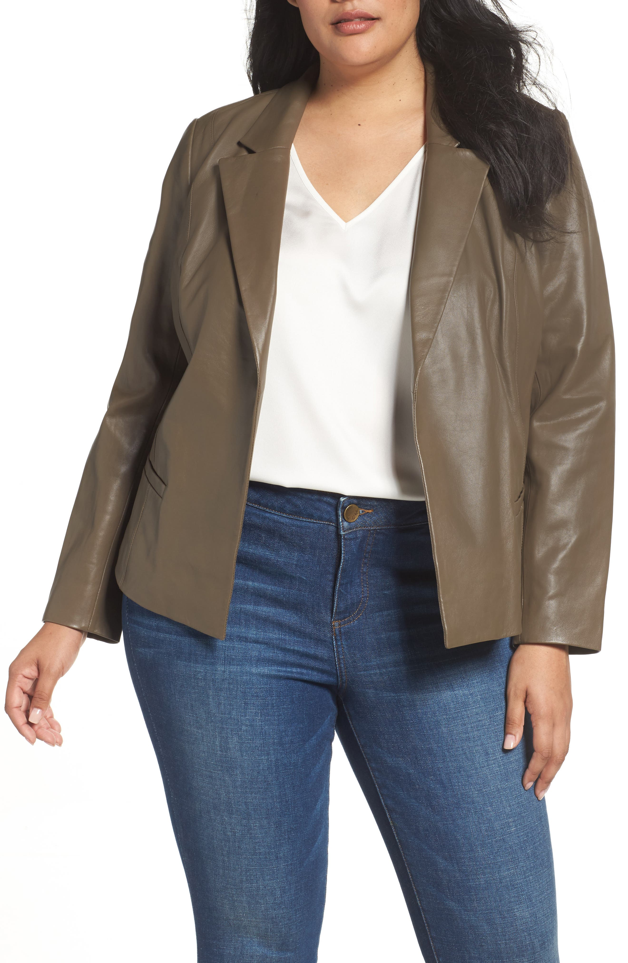 Leather Blazer,                         Main,                         color, Olive Grey