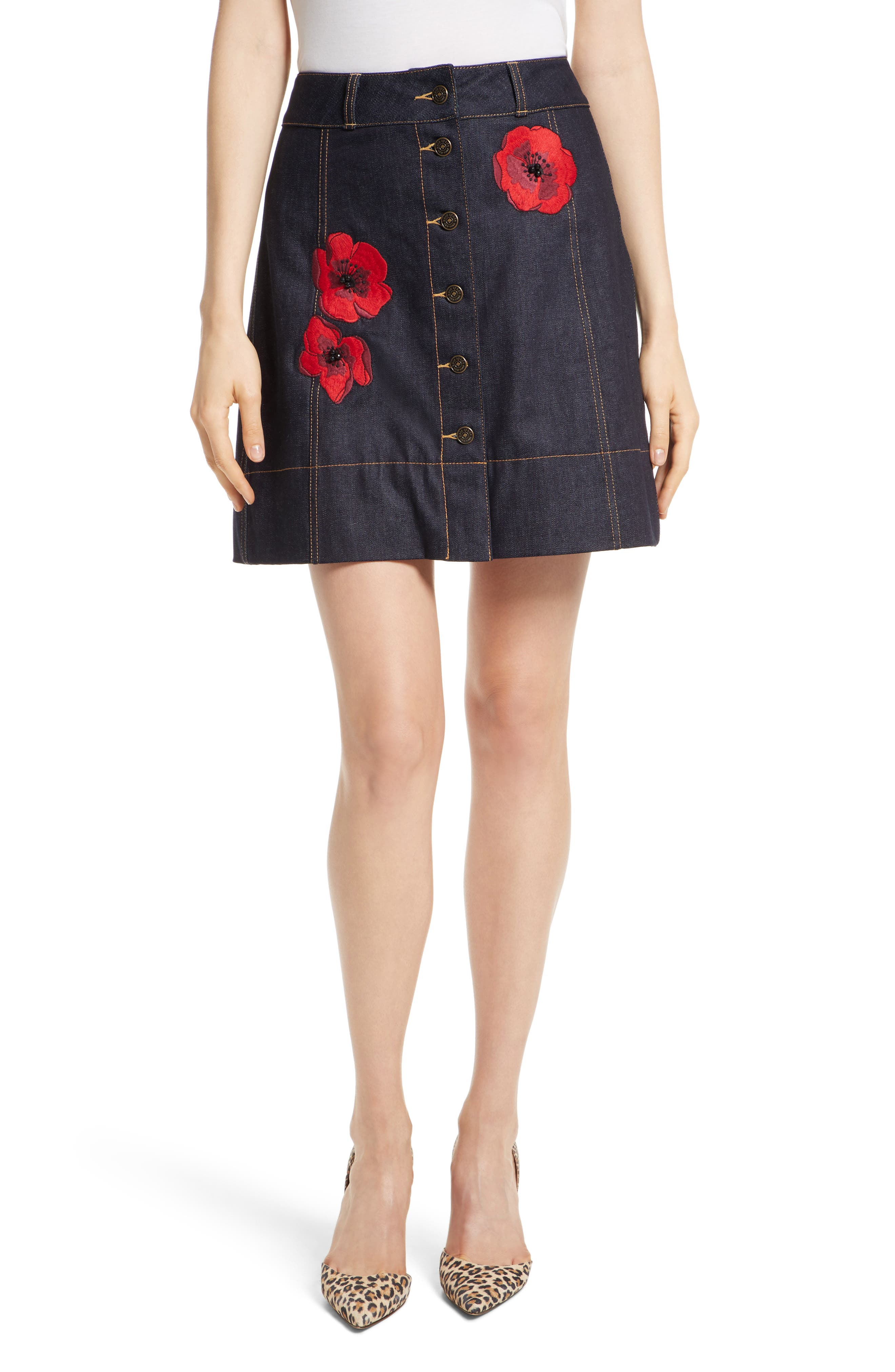 poppy denim skirt,                         Main,                         color, Indigo