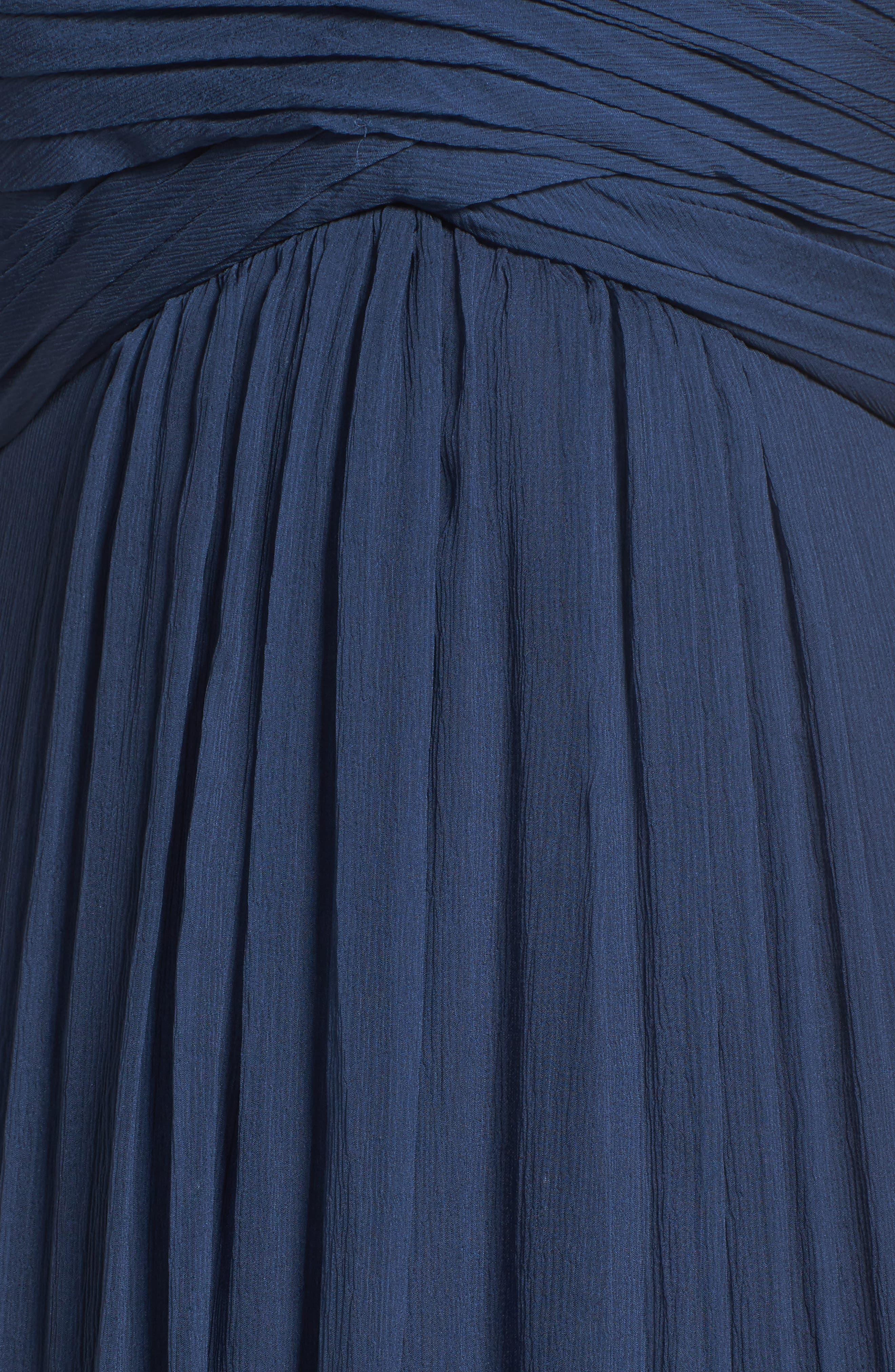 Alternate Image 5  - Amsale Corbin Crinkled Chiffon Empire Gown