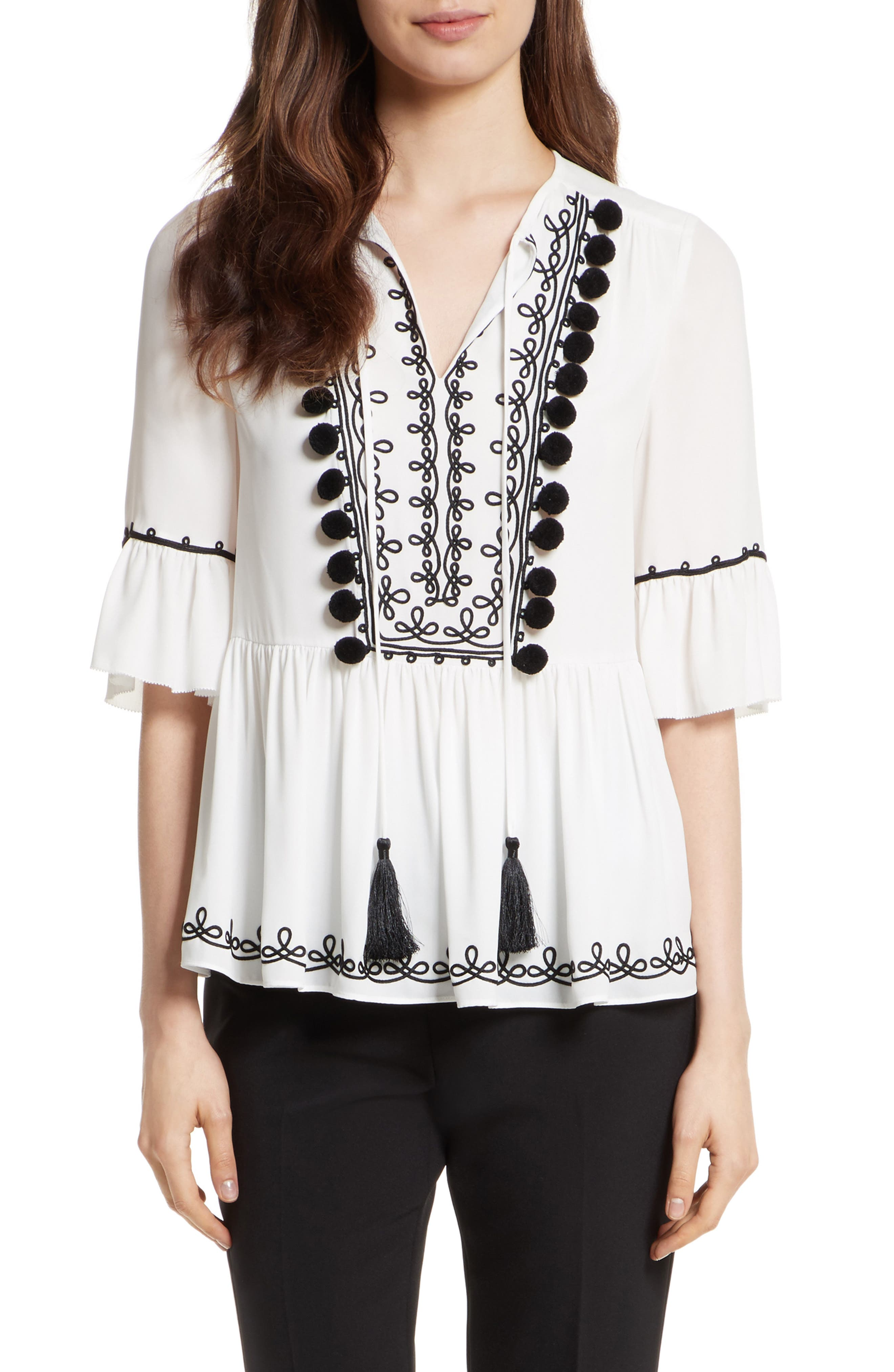 pom embroidered top,                             Main thumbnail 1, color,                             Cream