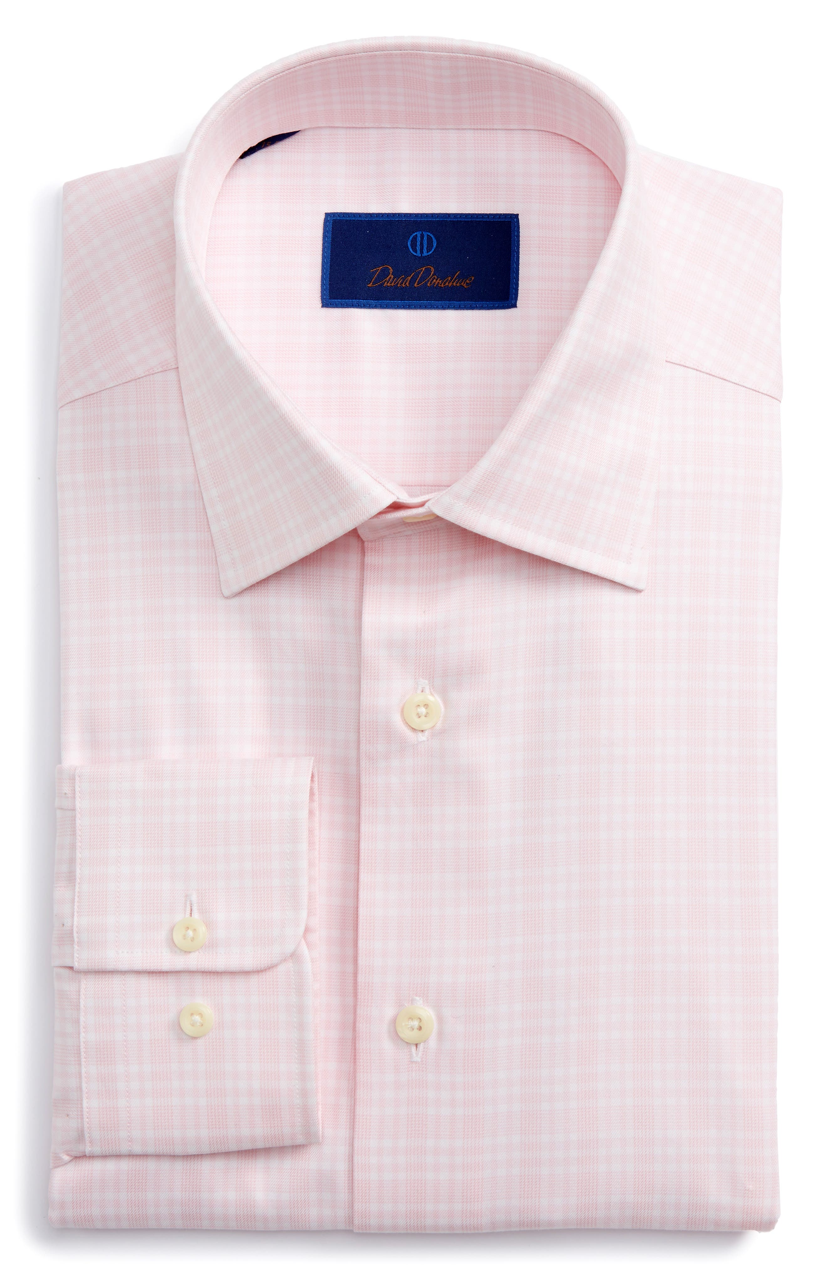 Main Image - David Donahue Regular Fit Plaid Dress Shirt