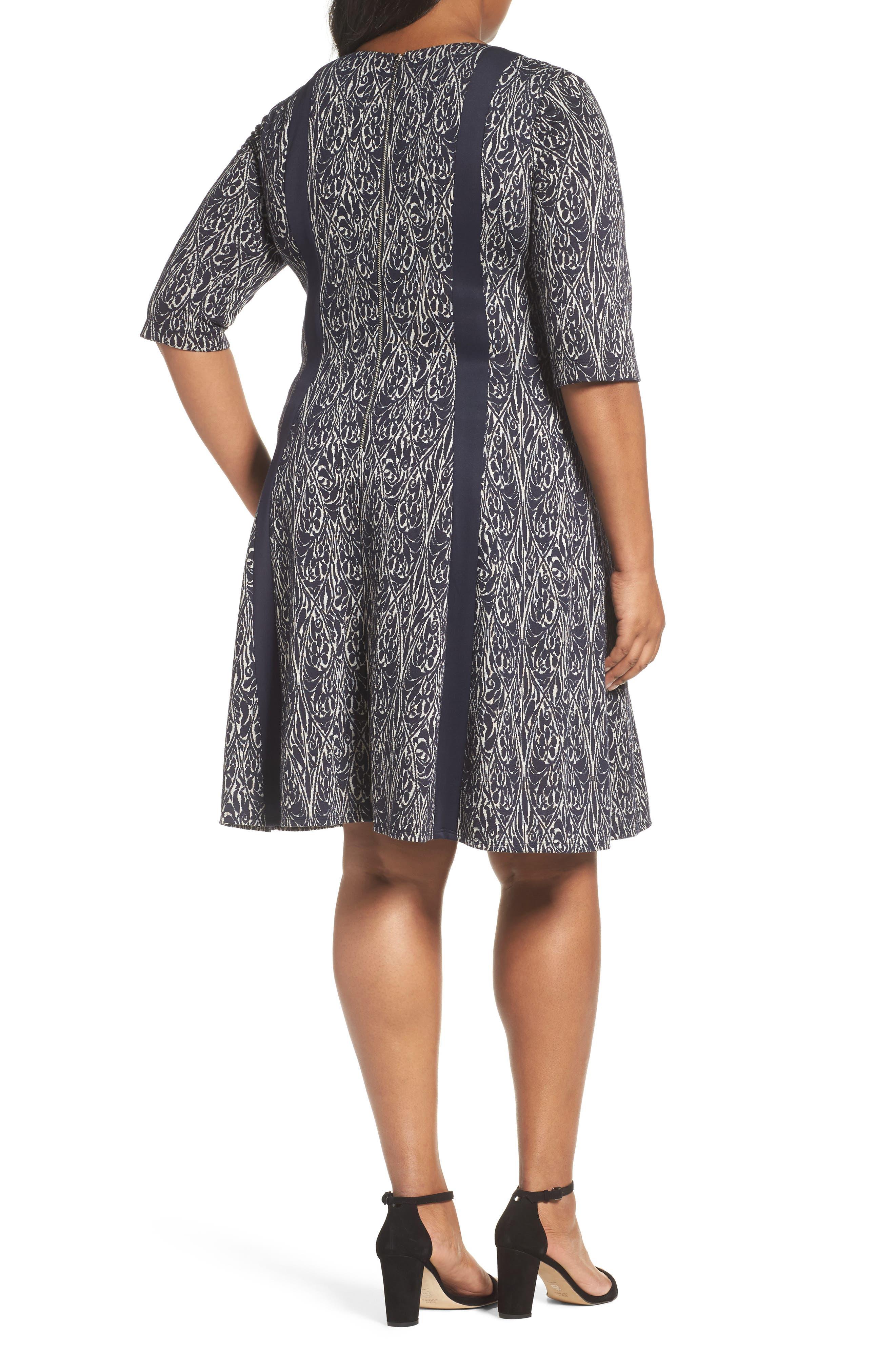Jacquard Knit A-Line Dress,                             Alternate thumbnail 2, color,                             Navy/ Ivory