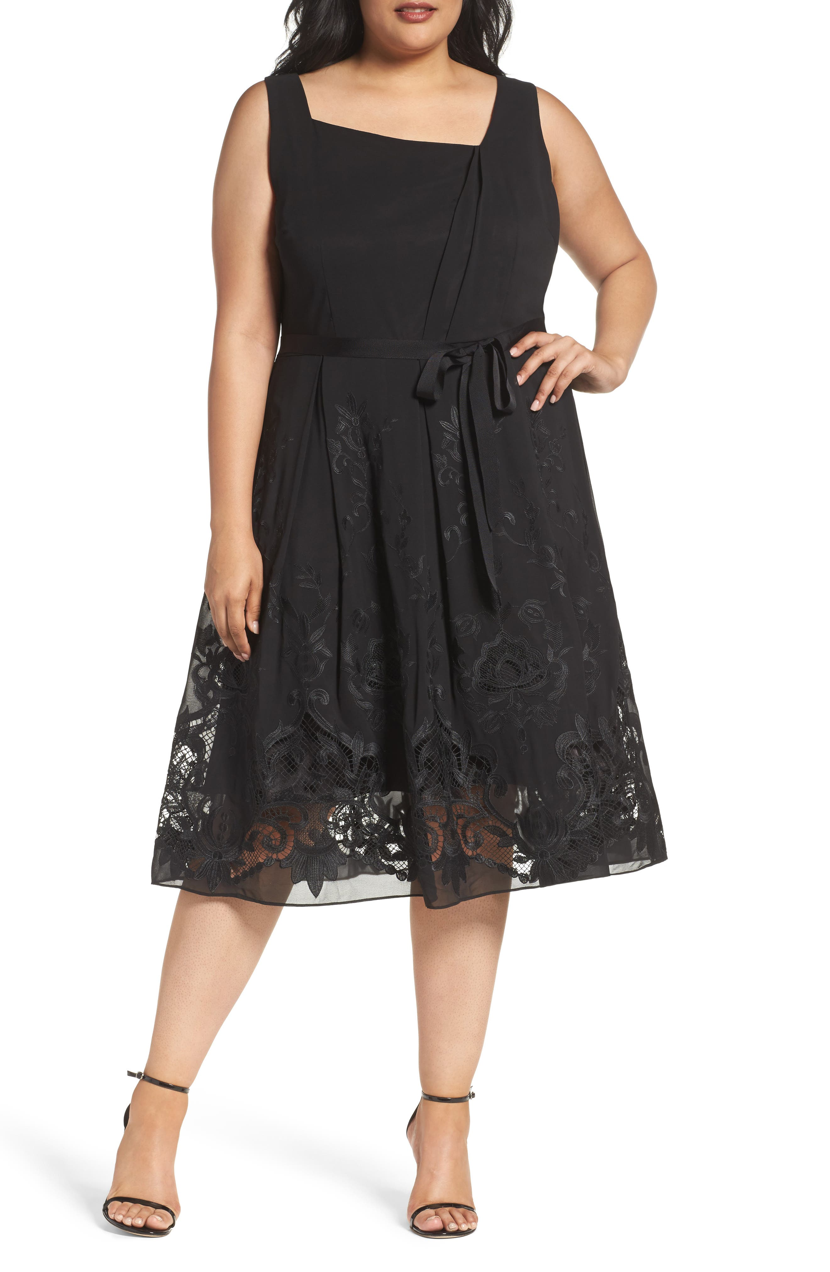 Tahari Embroidered Chiffon Midi Dress (Plus Size)