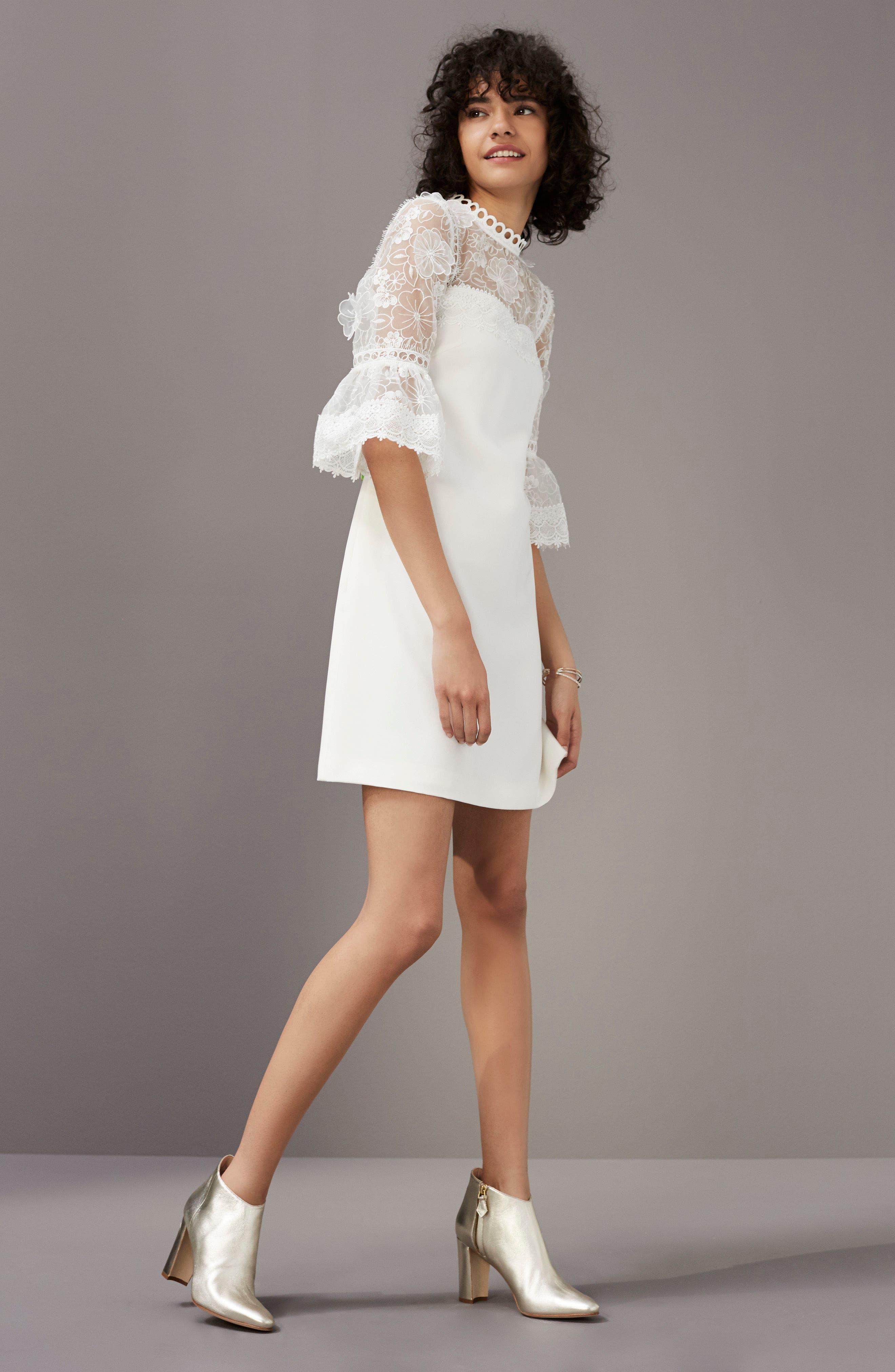Alternate Image 2  - Ted Baker London Raechal Lace Sleeve A-Line Dress