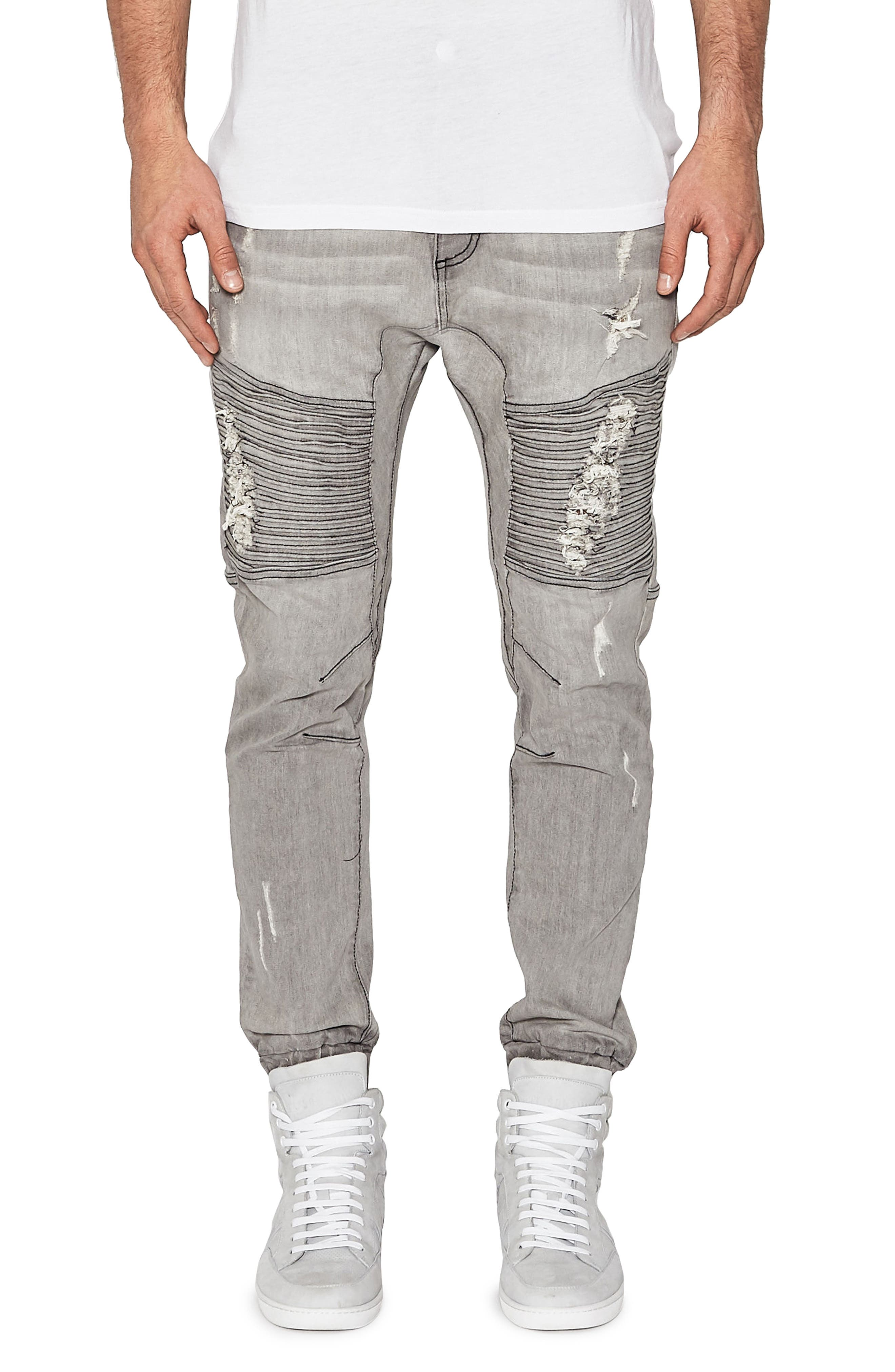 Destroyer Moto Denim Jogger Pants,                             Main thumbnail 1, color,                             Wolf Grey