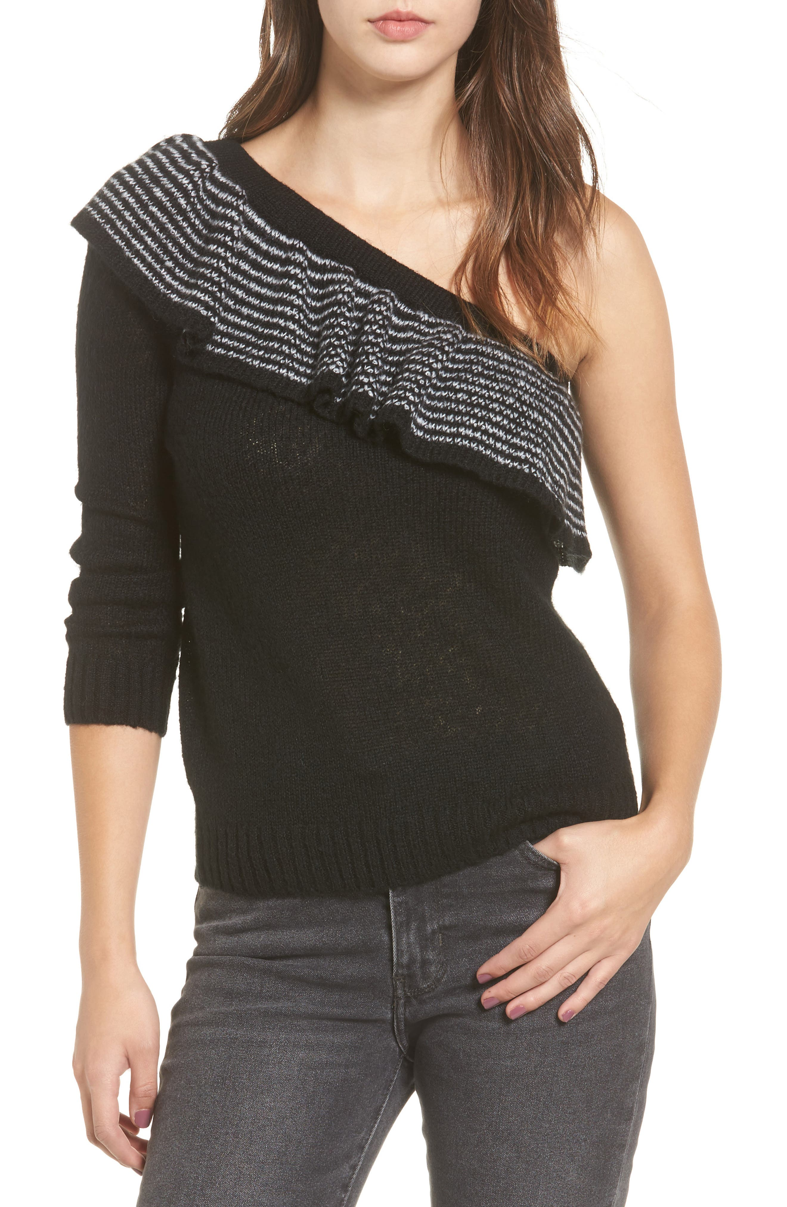 Ruffle One-Shoulder Sweater,                         Main,                         color, Black