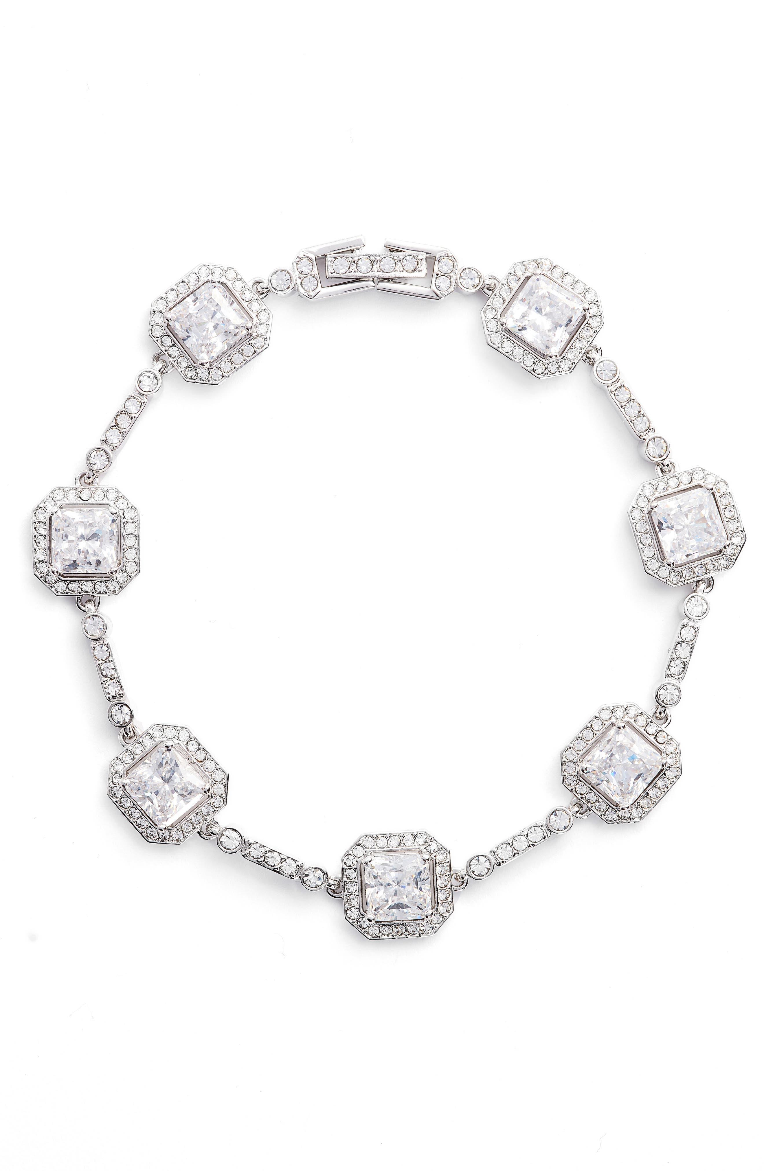 Cubic Zirconia Bracelet,                             Main thumbnail 1, color,                             Silver