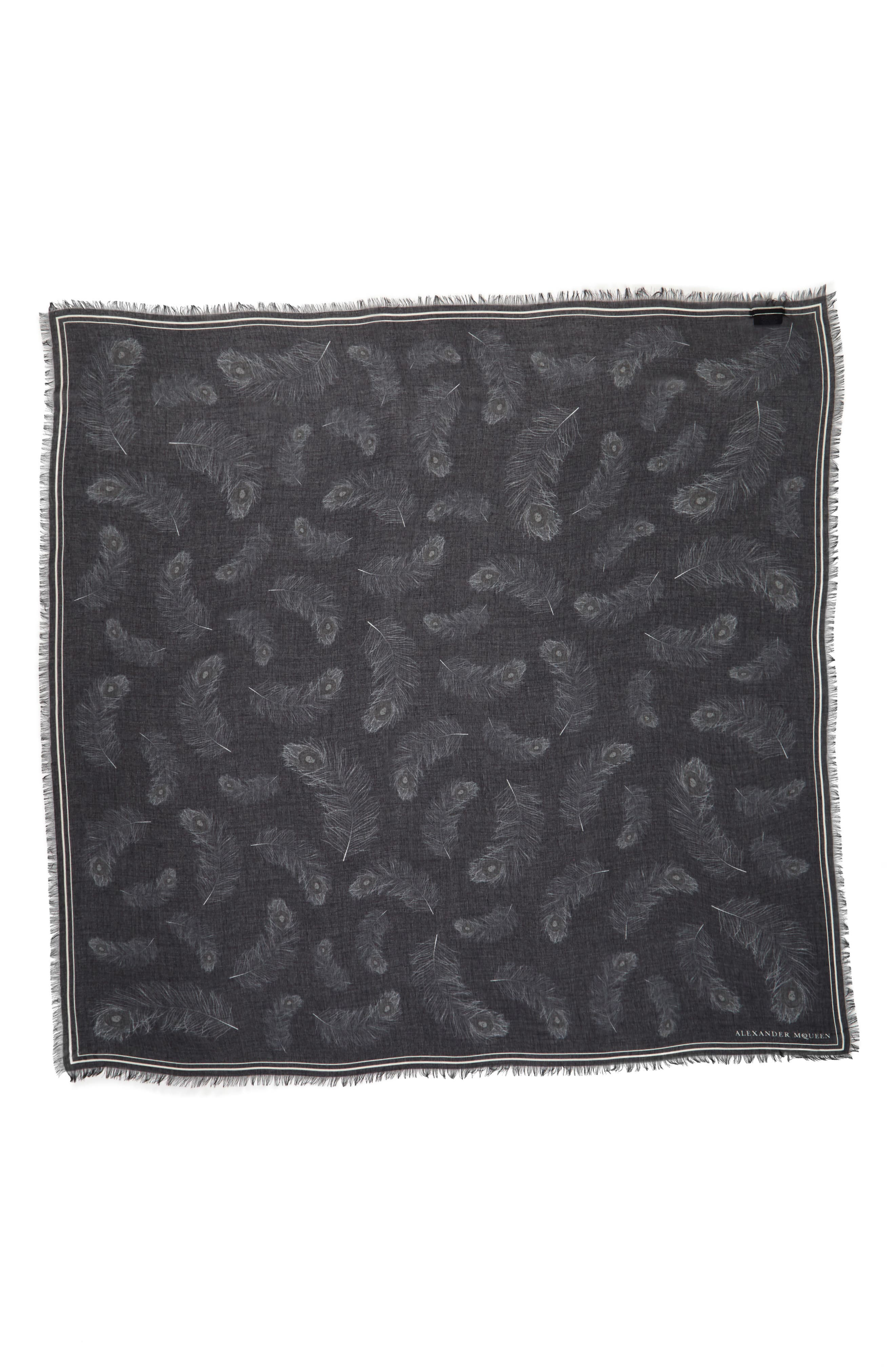 Peacock Feather Skull Scarf,                             Alternate thumbnail 2, color,                             Black/ Ivory
