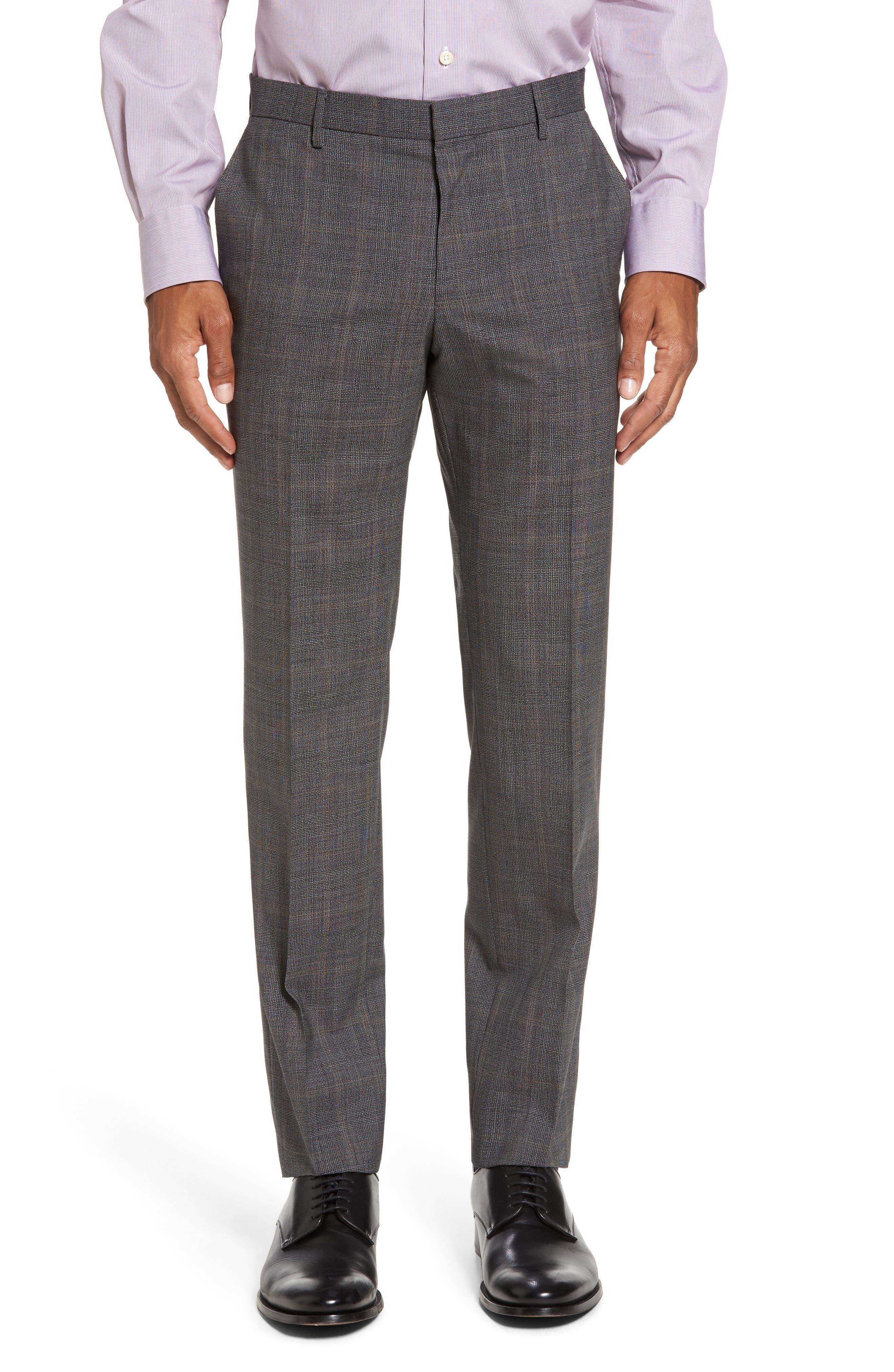 Novan/Ben Trim Fit Plaid Wool Suit,                             Alternate thumbnail 6, color,                             Black