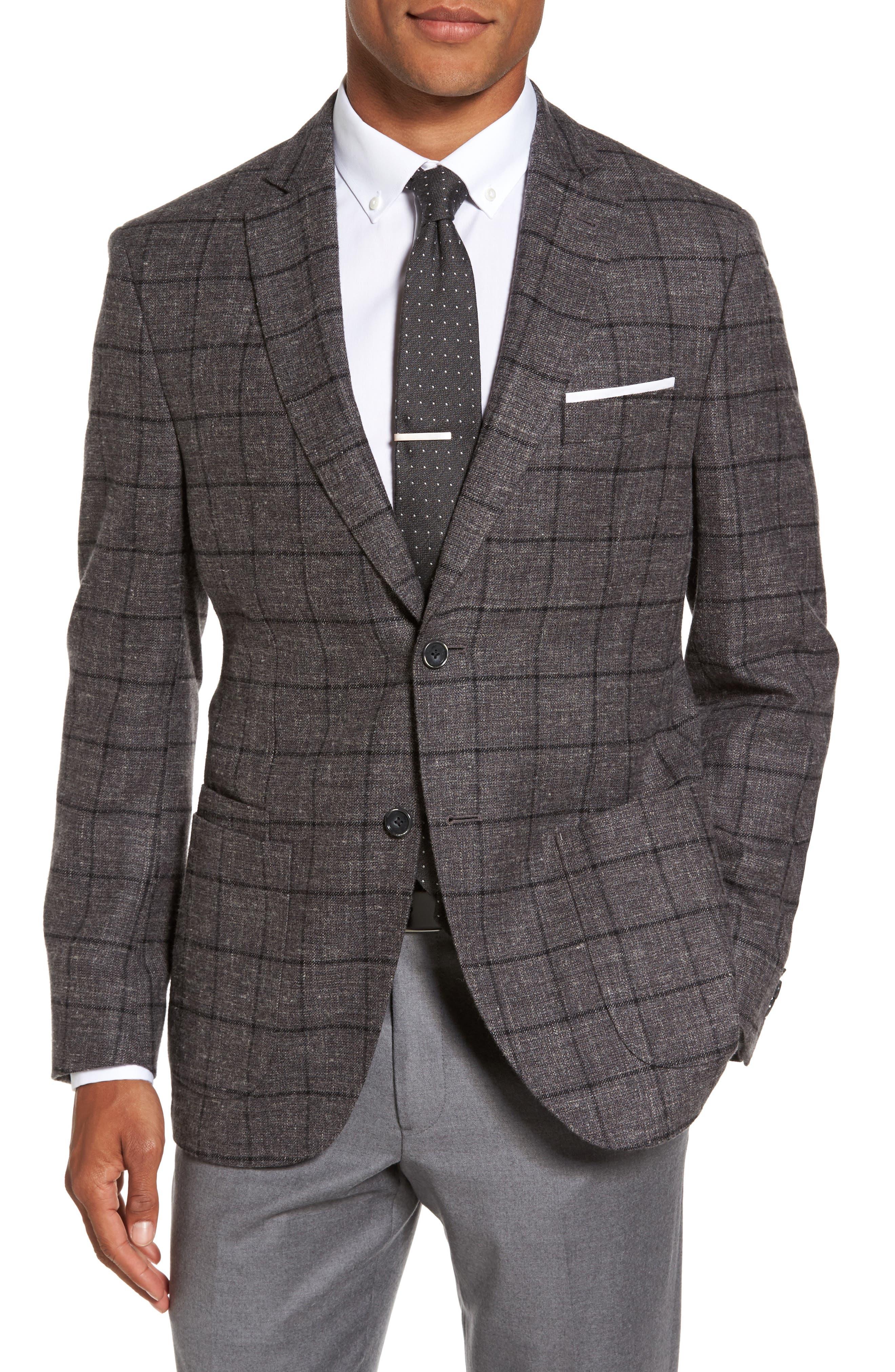 JKT New York Trim Fit Windowpane Wool Blend Sport Coat