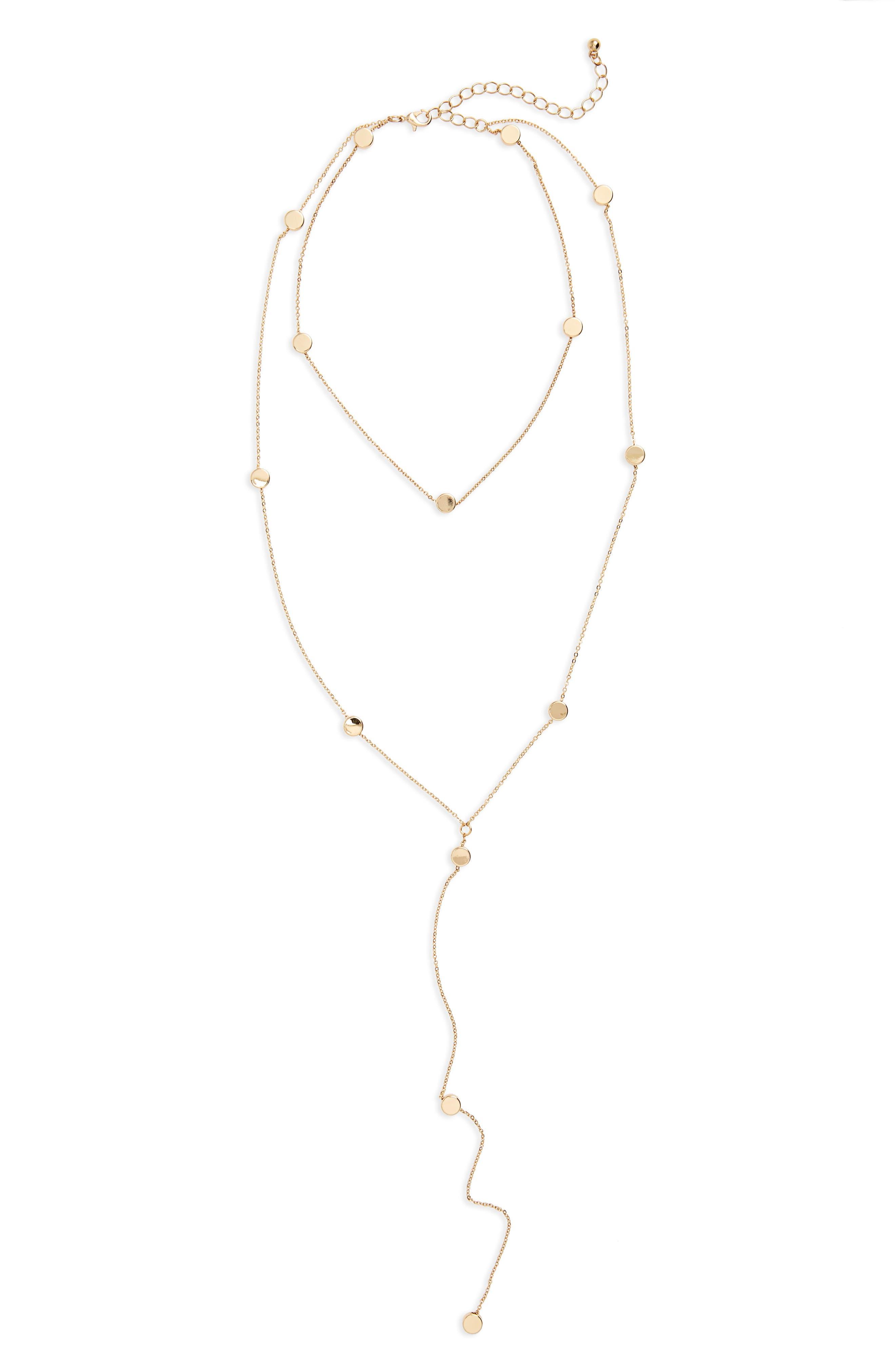BP. Disc Charm Lariat Necklace