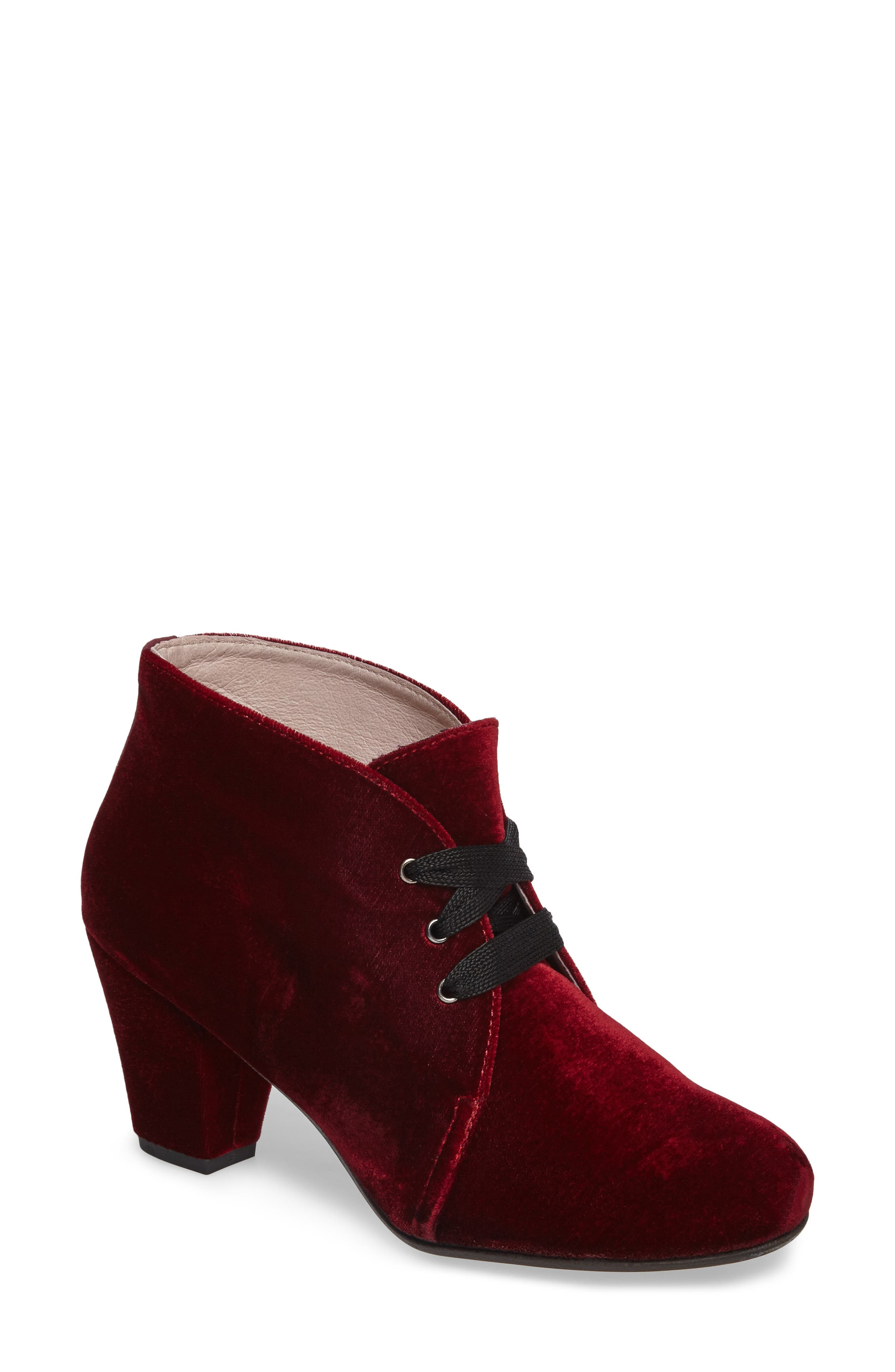 Clair Lace-Up Bootie,                         Main,                         color, Burgundy Velvet Fabric