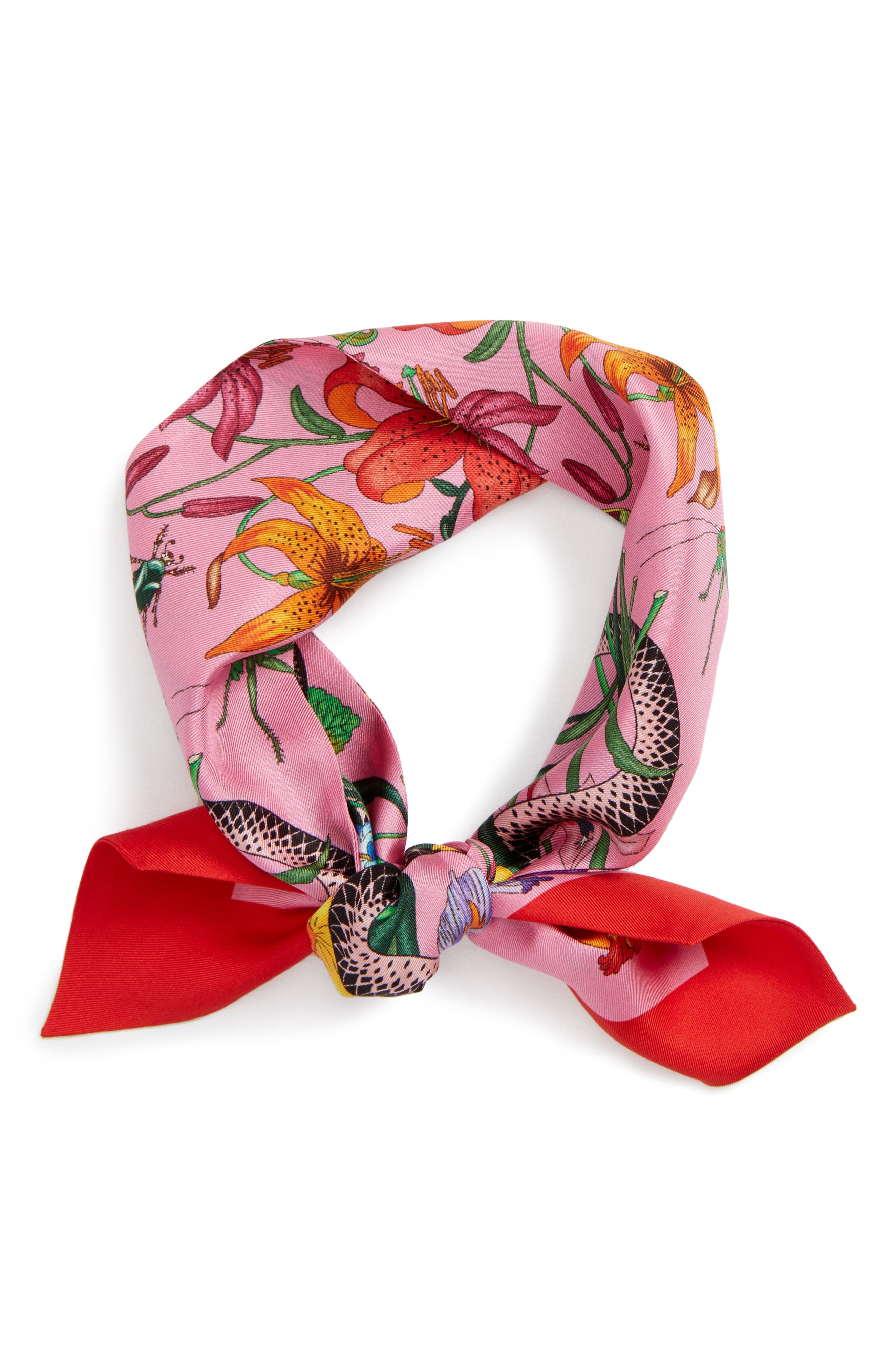 Main Image - Gucci Flora Snake Silk Scarf