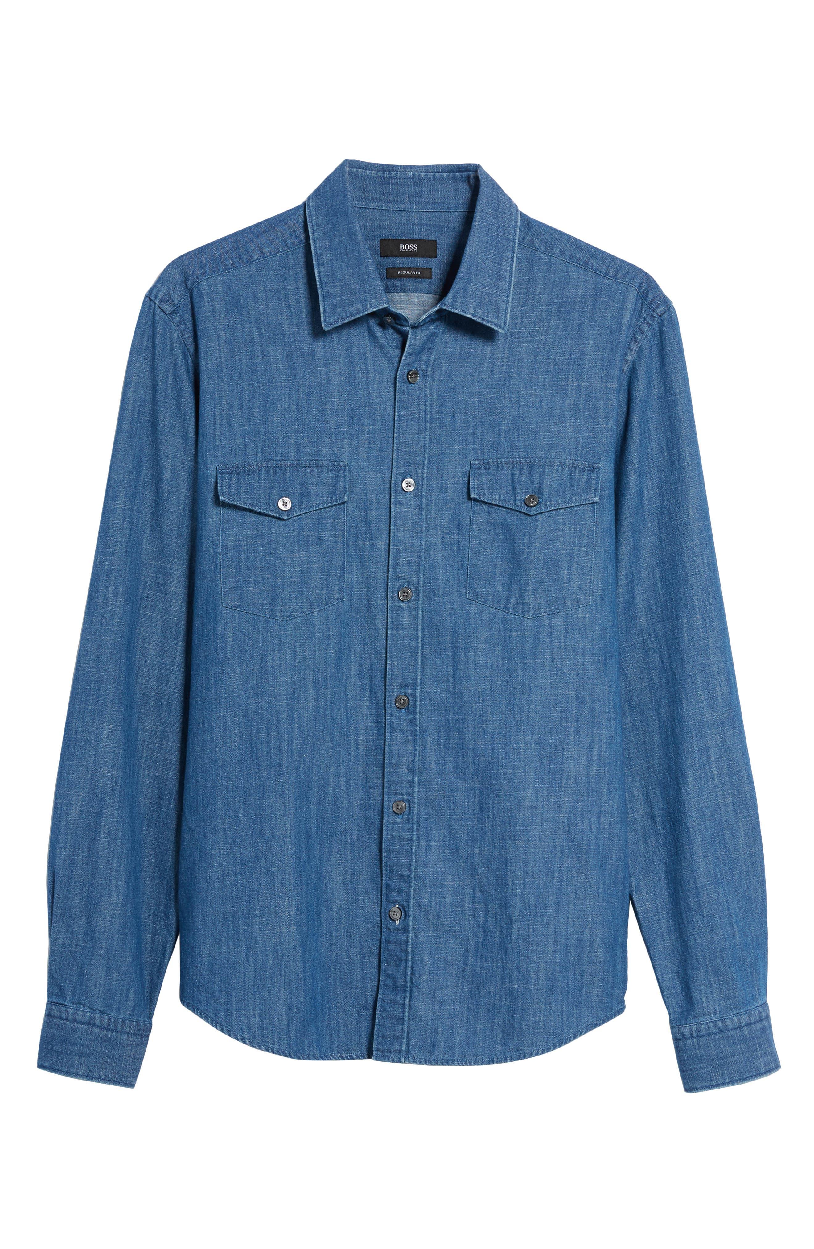 Lance Regular Fit Two-Pocket Denim Sport Shirt,                             Alternate thumbnail 5, color,                             Blue