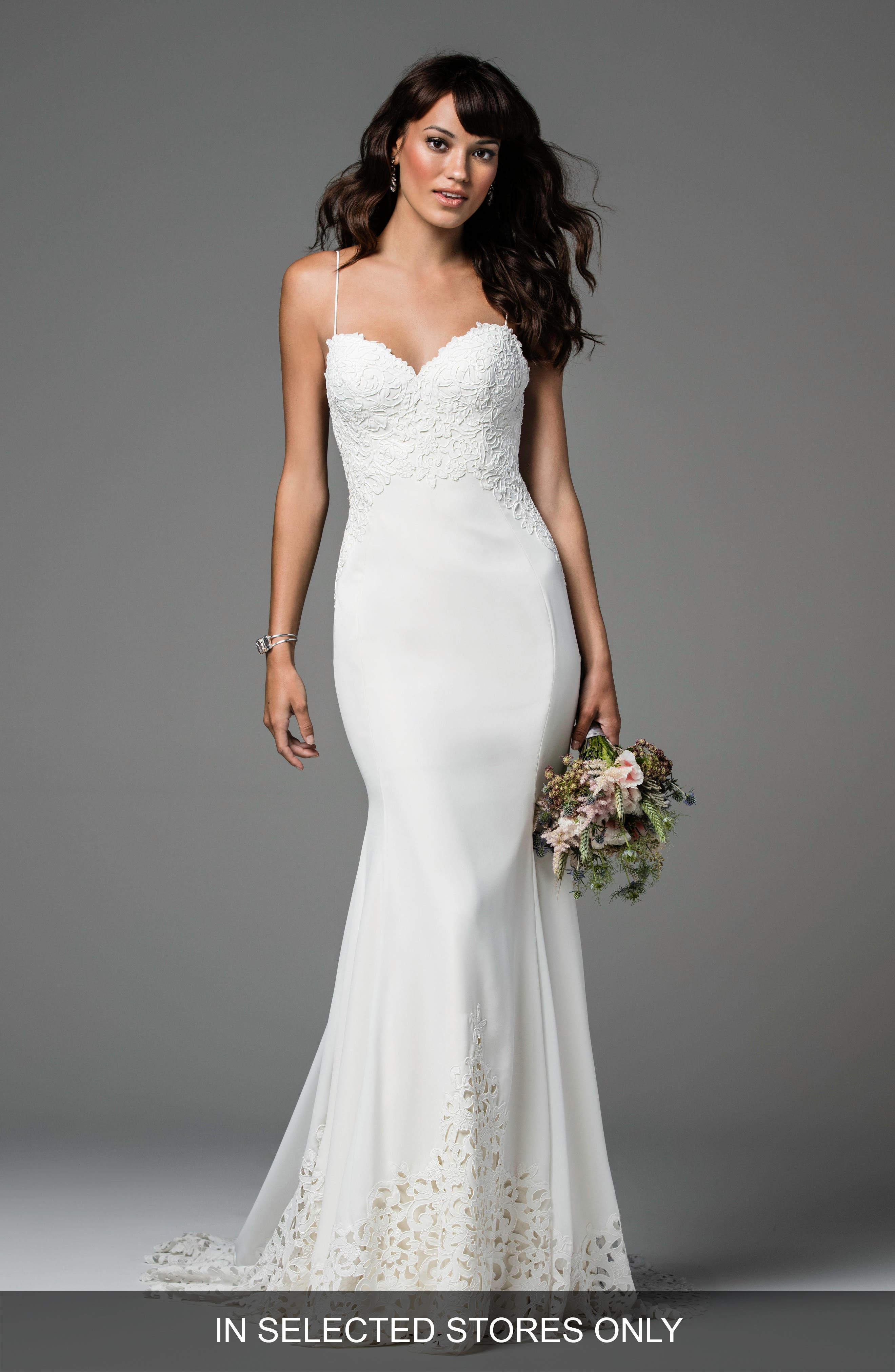 Ridley Backless Laser Cut Lace & Georgette Gown,                         Main,                         color, Ivory/Ivory