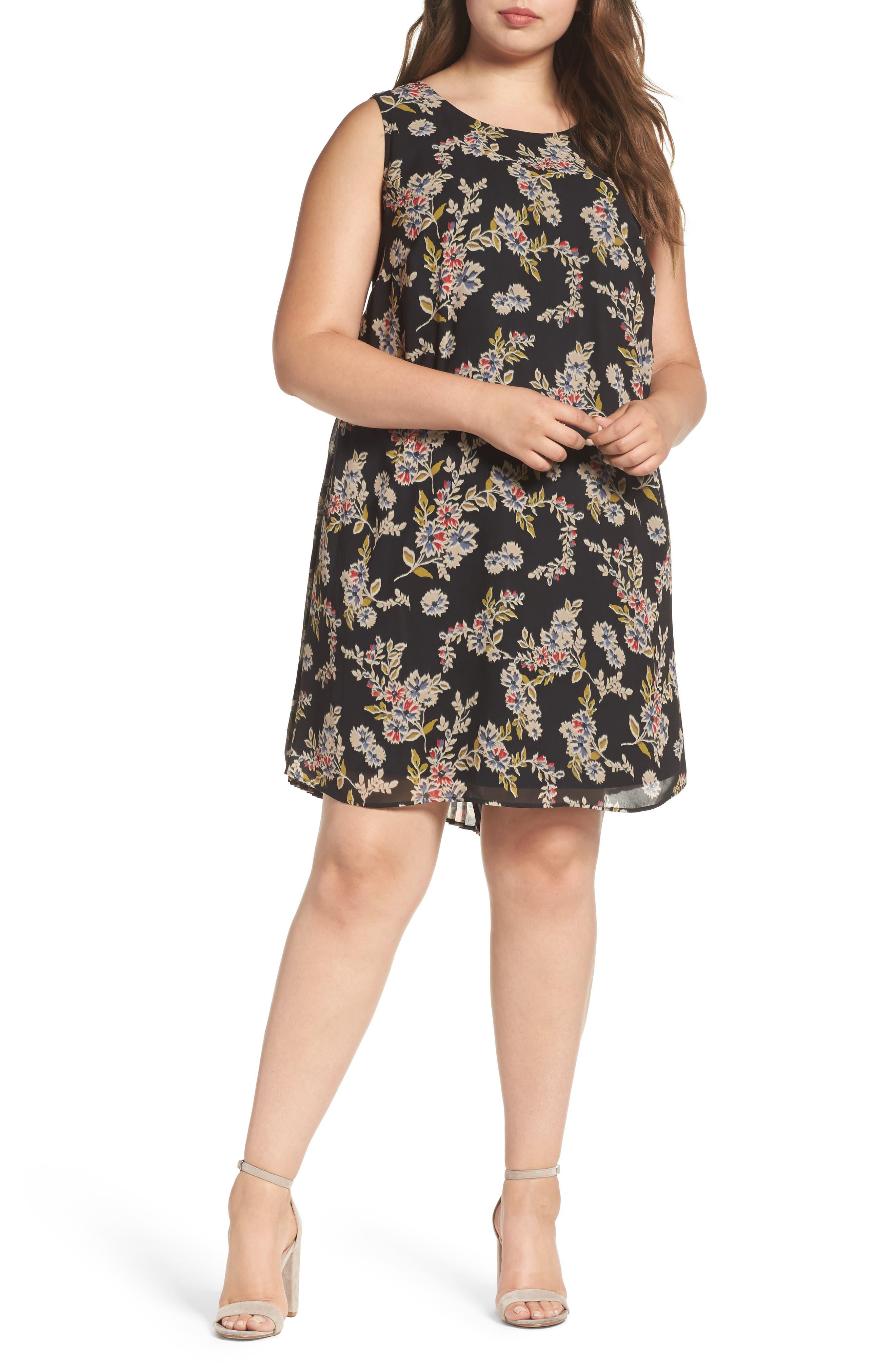 Pleated Back Dress,                         Main,                         color, B787n Black