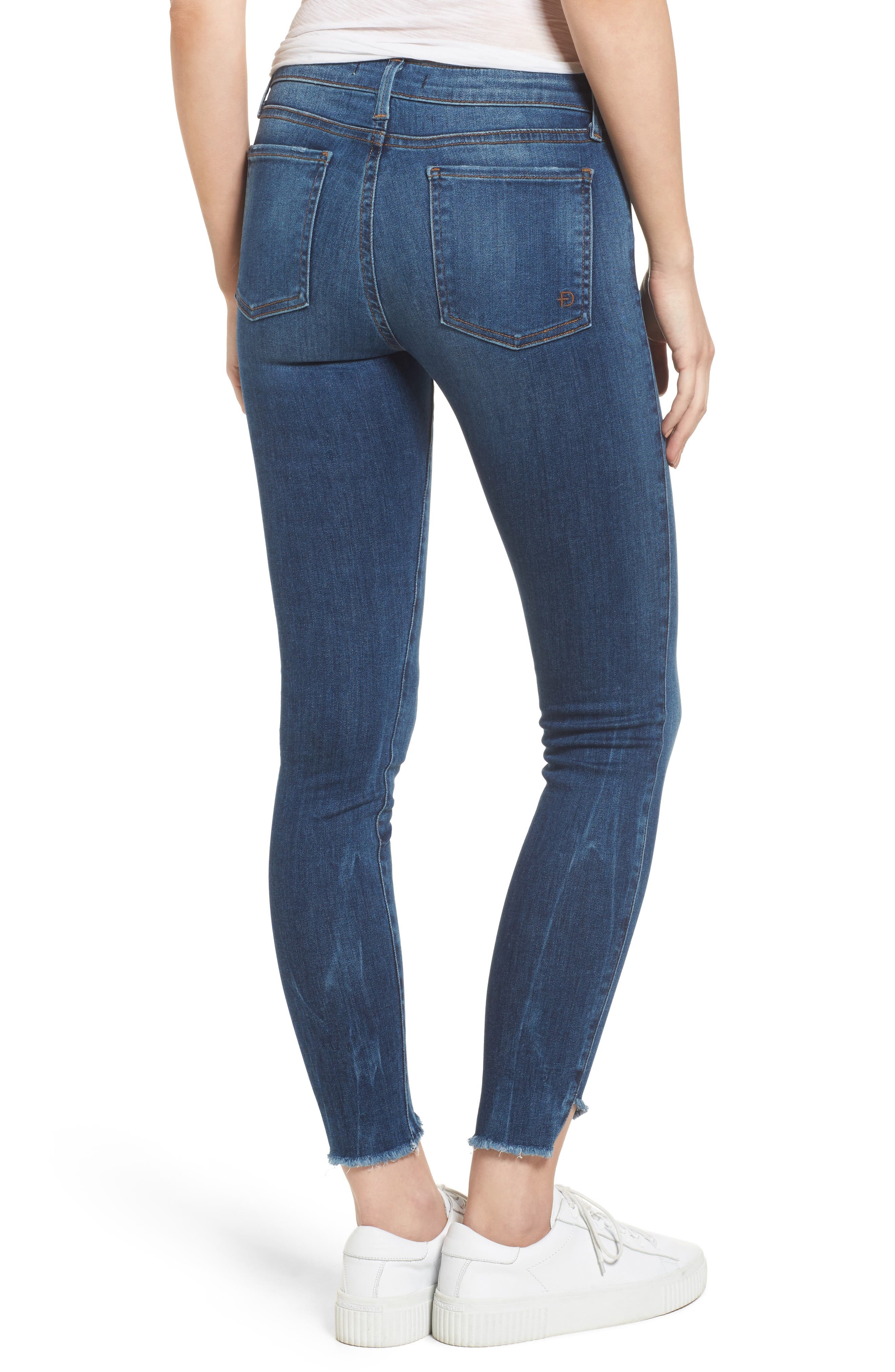 Alternate Image 2  - Fidelity Denim Mila Step Hem Skinny Jeans (Vintage Blue)