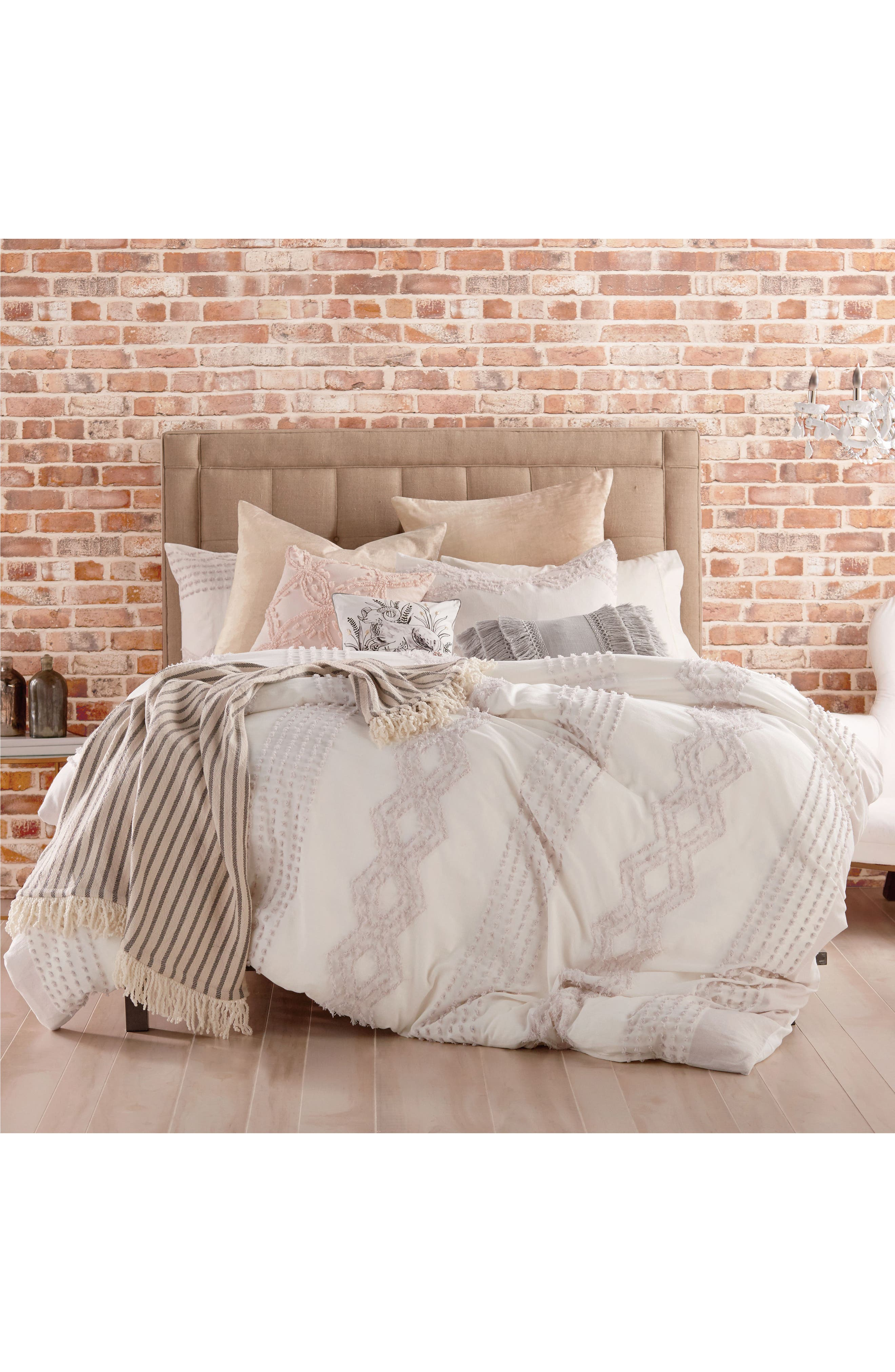 Cut Geo Chenille Comforter & Sham Set,                         Main,                         color, Lilac