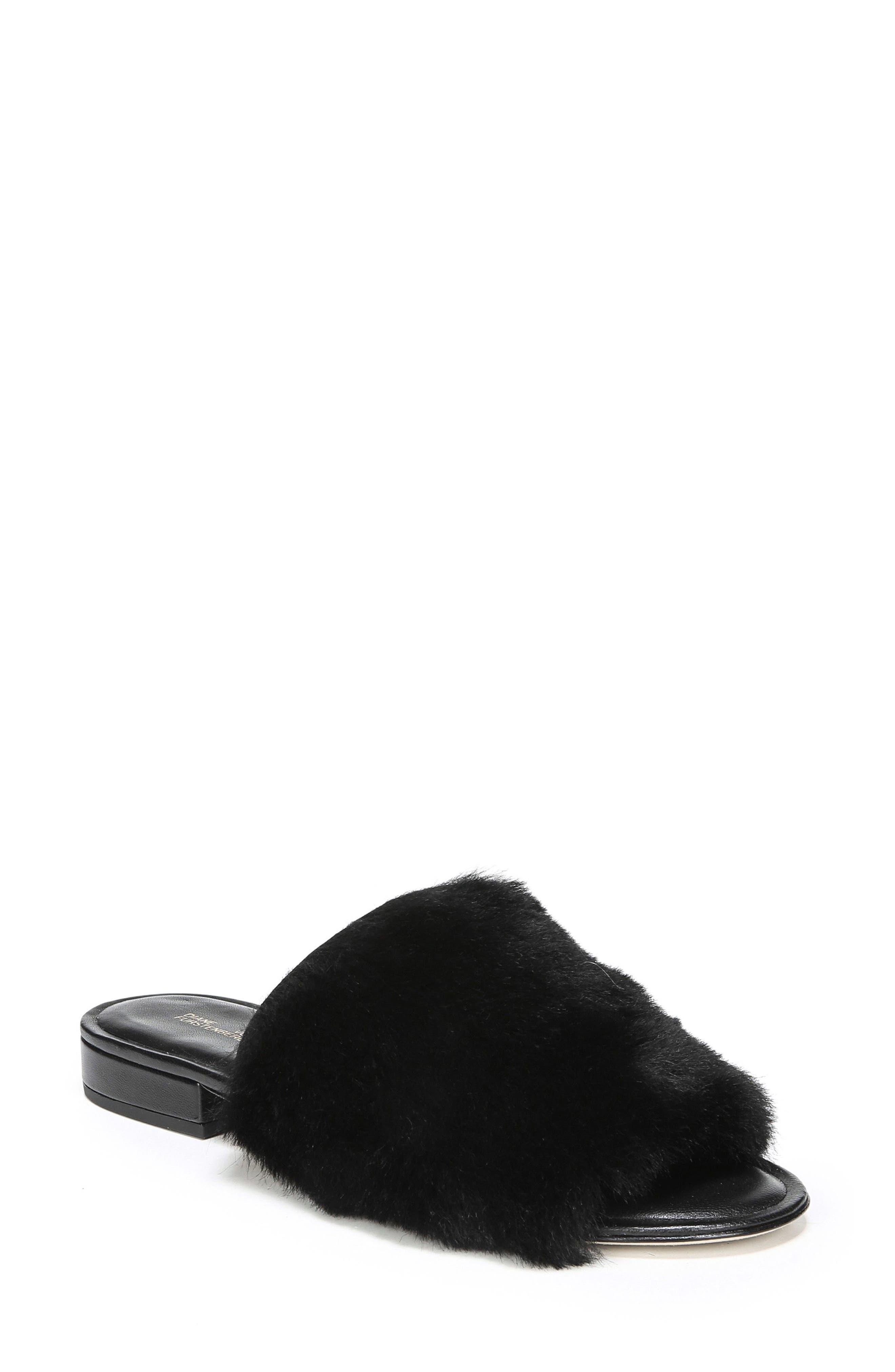 Santi Genuine Shearling Slide Sandal,                             Main thumbnail 1, color,                             Black