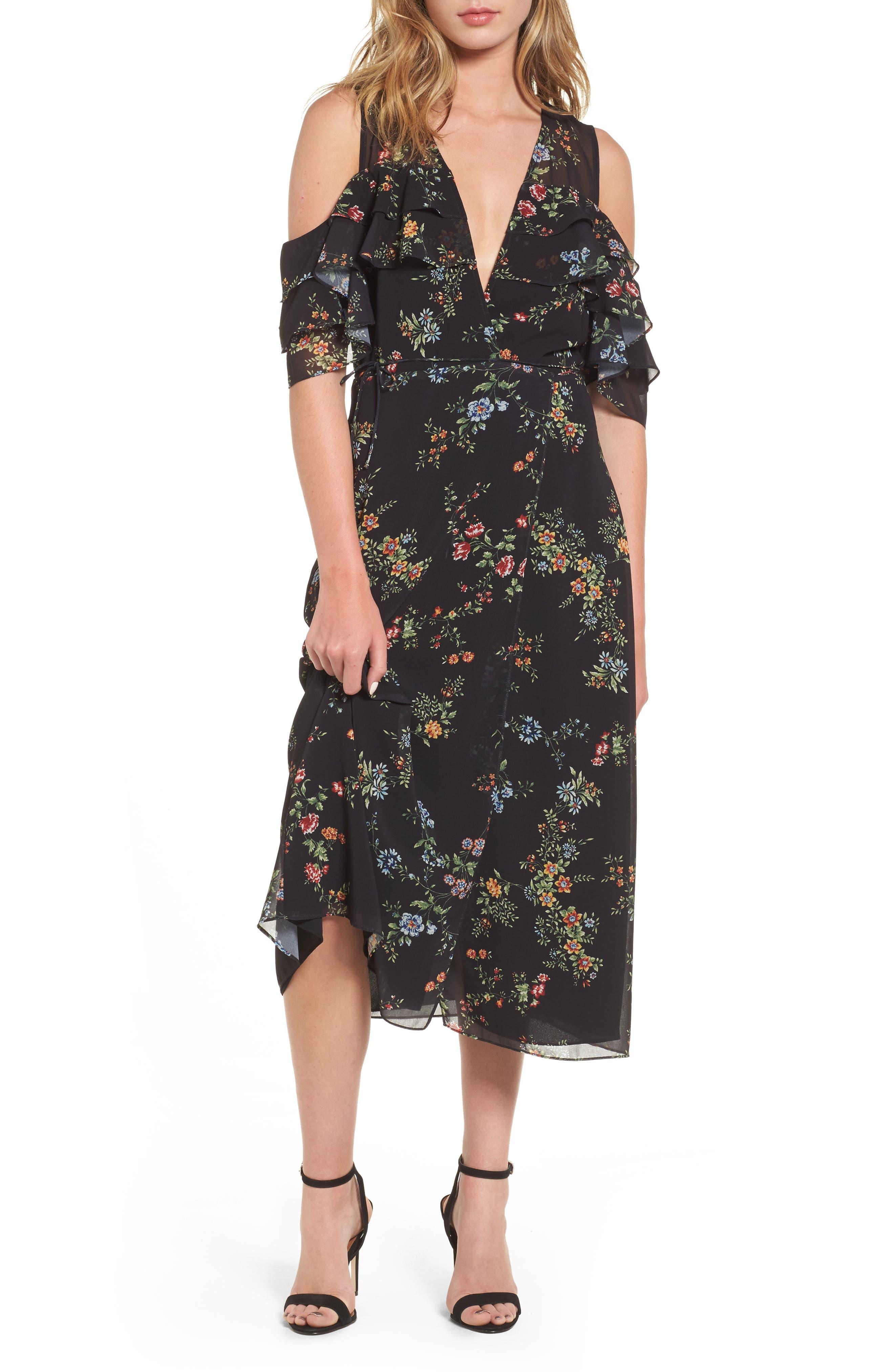 Daisy Wrap Midi Dress,                         Main,                         color, Black Floral